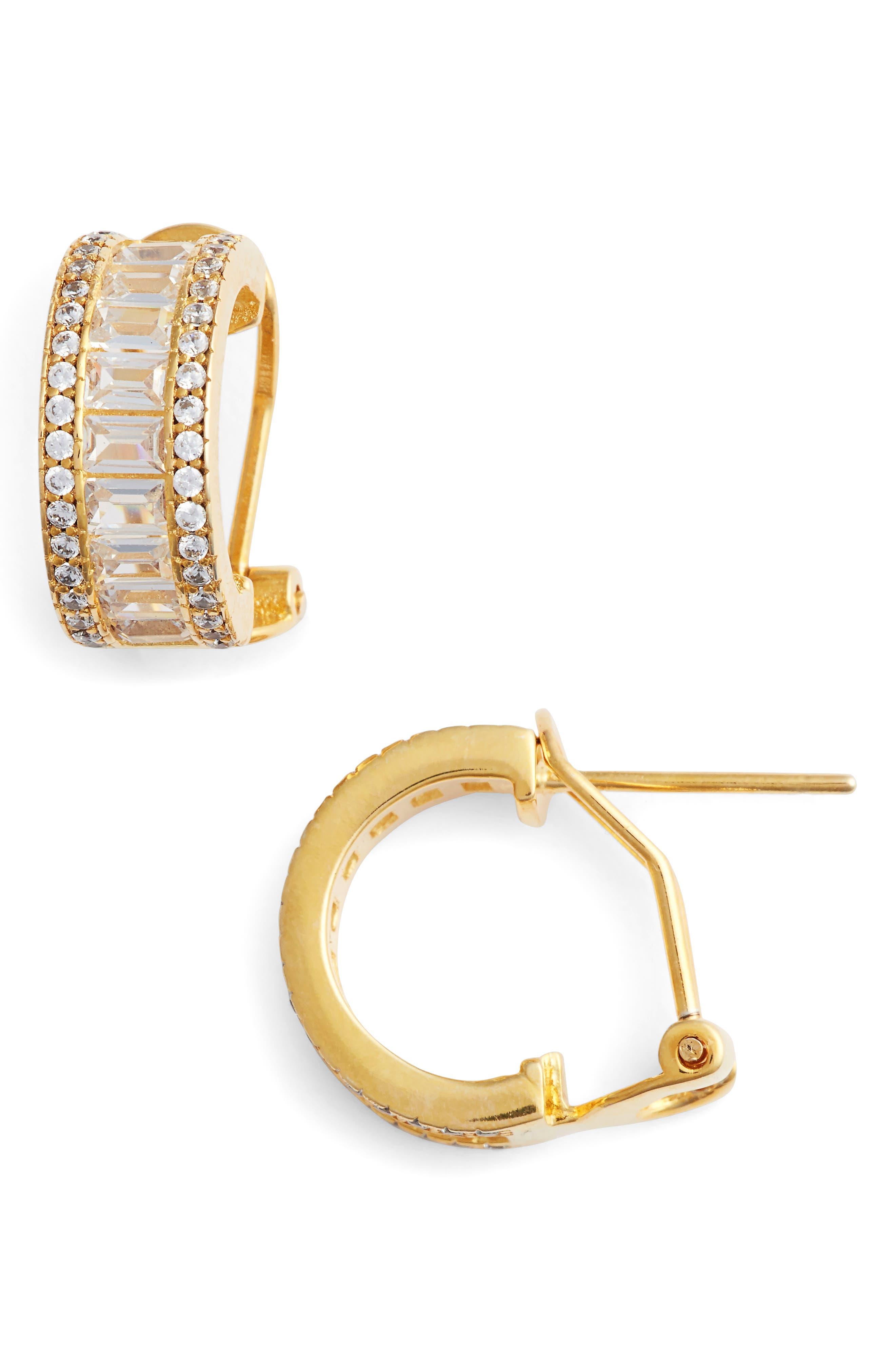 Small Baguette Pavé Hoop Earrings,                             Main thumbnail 1, color,                             Gold/ White Cz