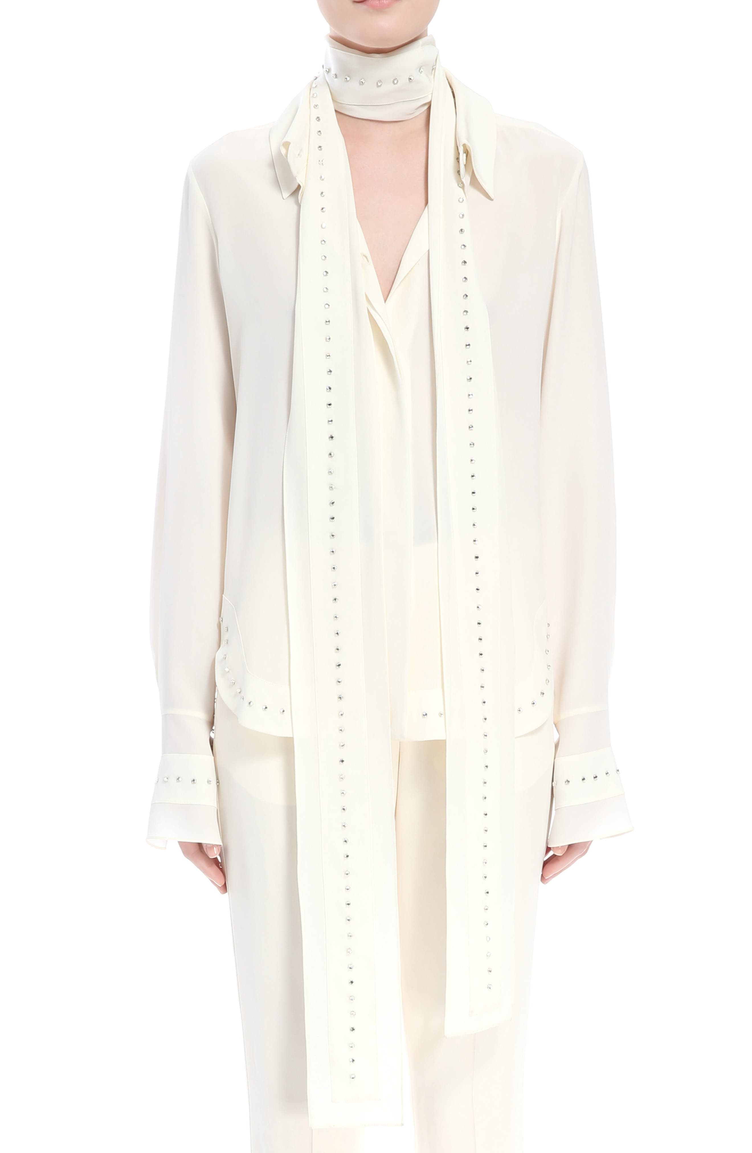 Rhinstone Trim Silk Shirt with Scarf,                             Main thumbnail 1, color,                             Eden White