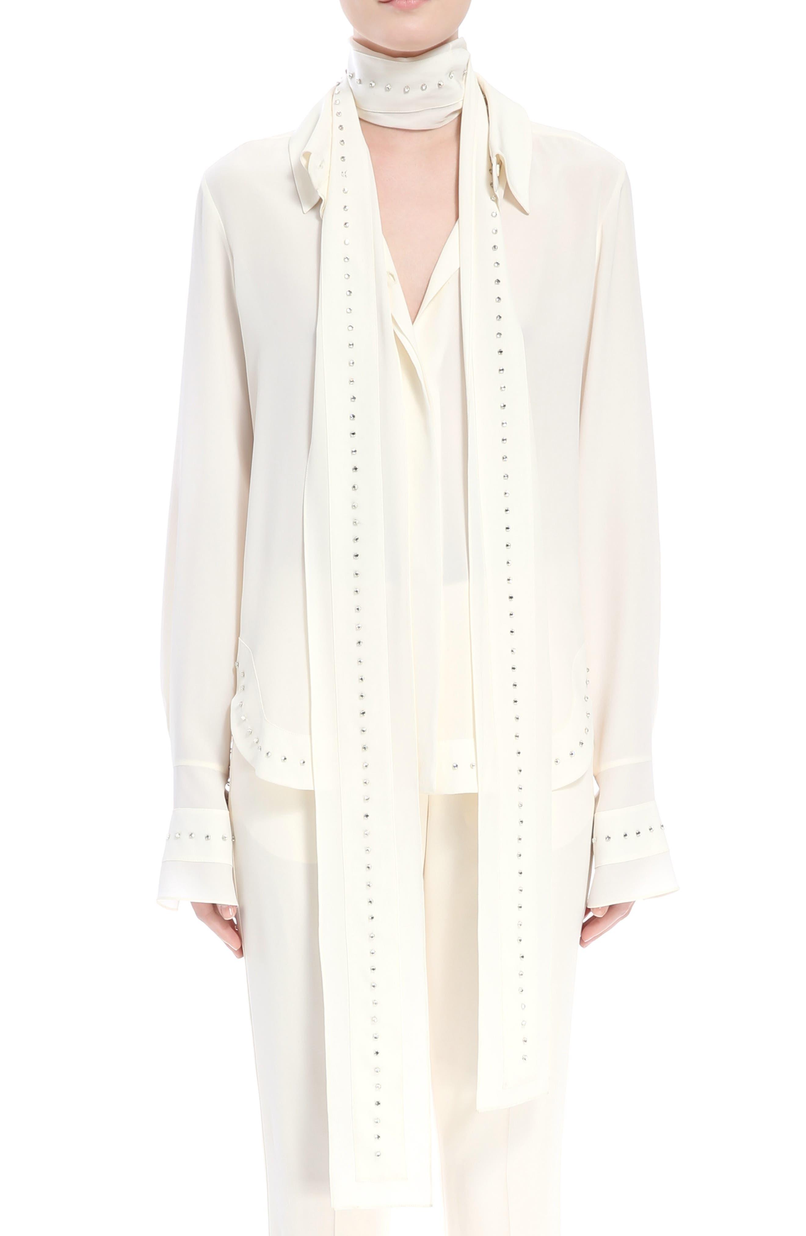 Main Image - Chloé Rhinstone Trim Silk Shirt with Scarf