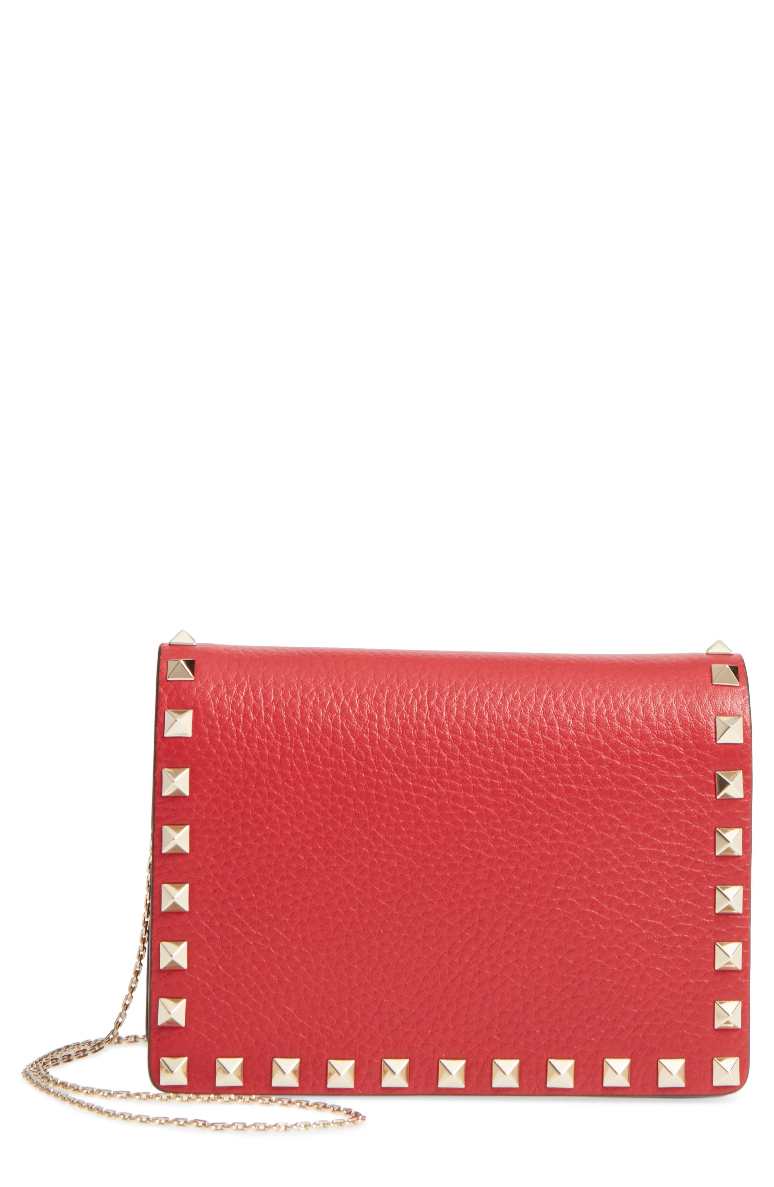 Rockstud Leather Pouch Wallet on a Chain,                             Main thumbnail 1, color,                             Rossa