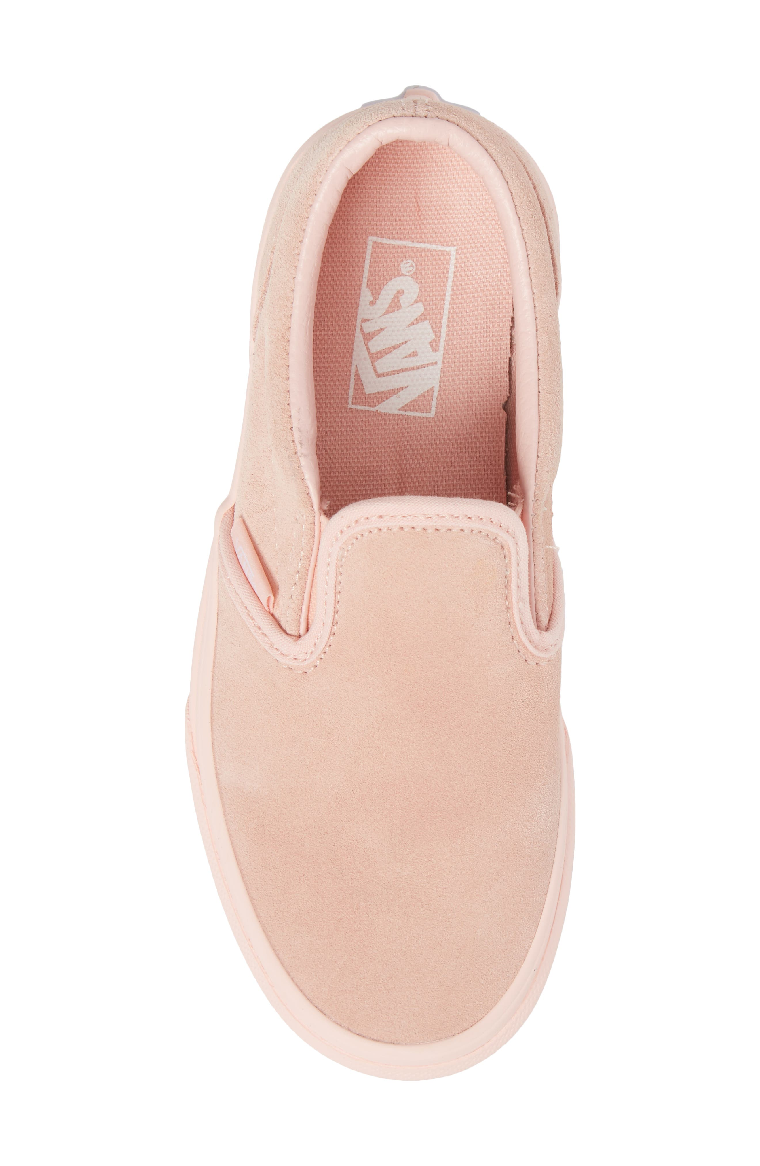 Classic Slip-On Sneaker,                             Alternate thumbnail 5, color,                             Suede Mono/ English Rose