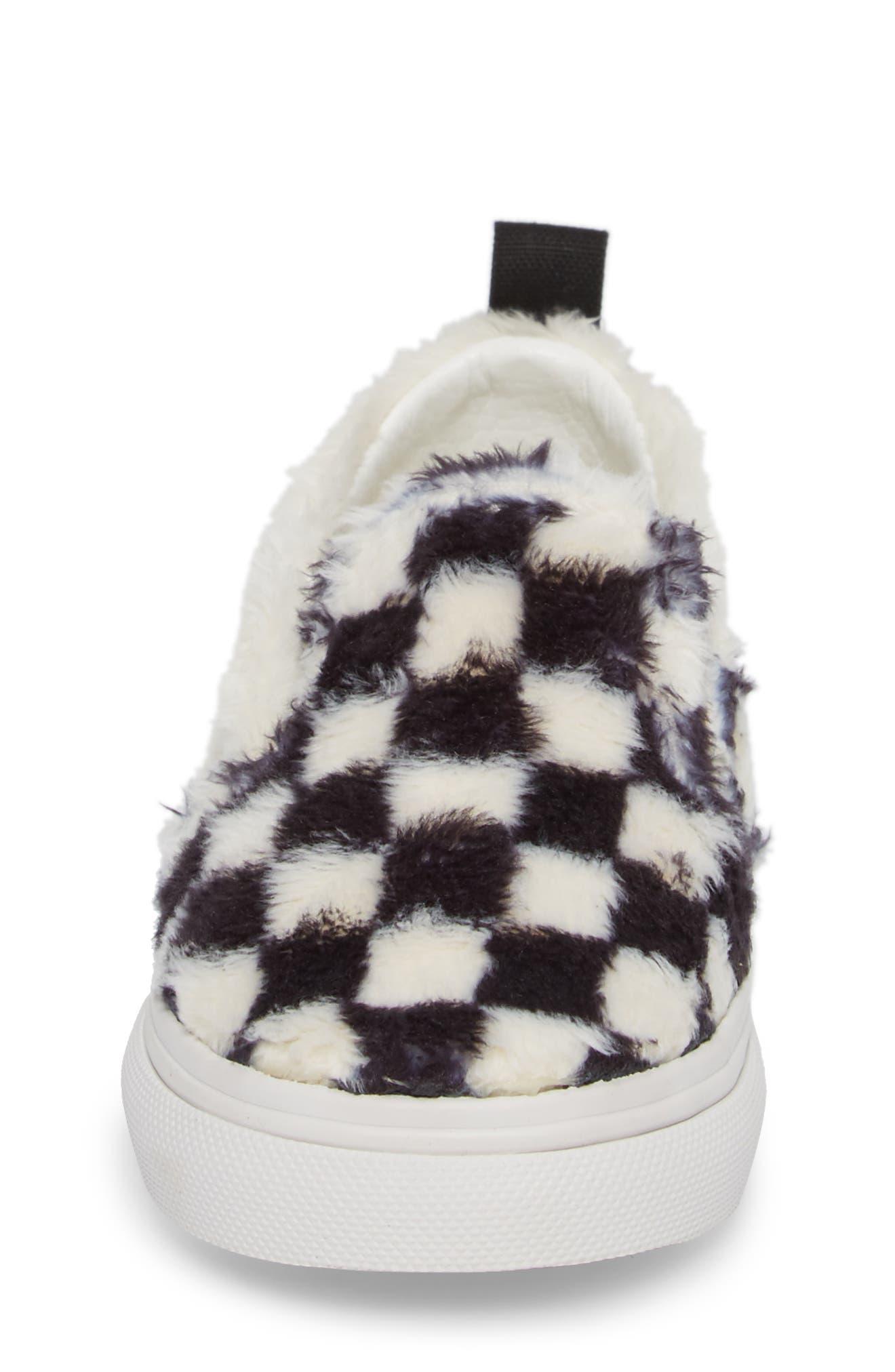 Faux Fur Slip-On Sneaker,                             Alternate thumbnail 4, color,                             Black/ White Sherpa Check