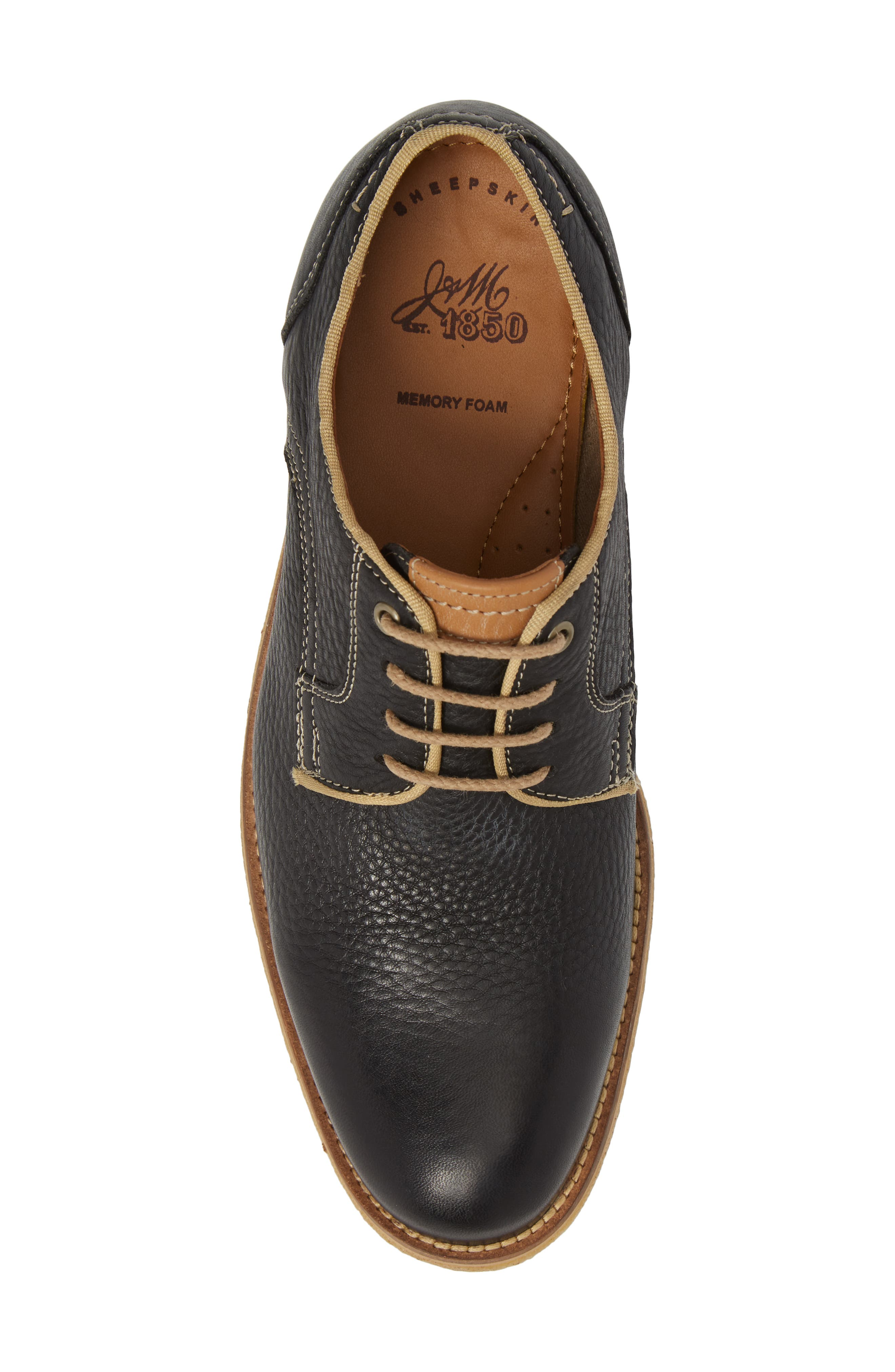 Howell Plain Toe Derby,                             Alternate thumbnail 5, color,                             Black Leather
