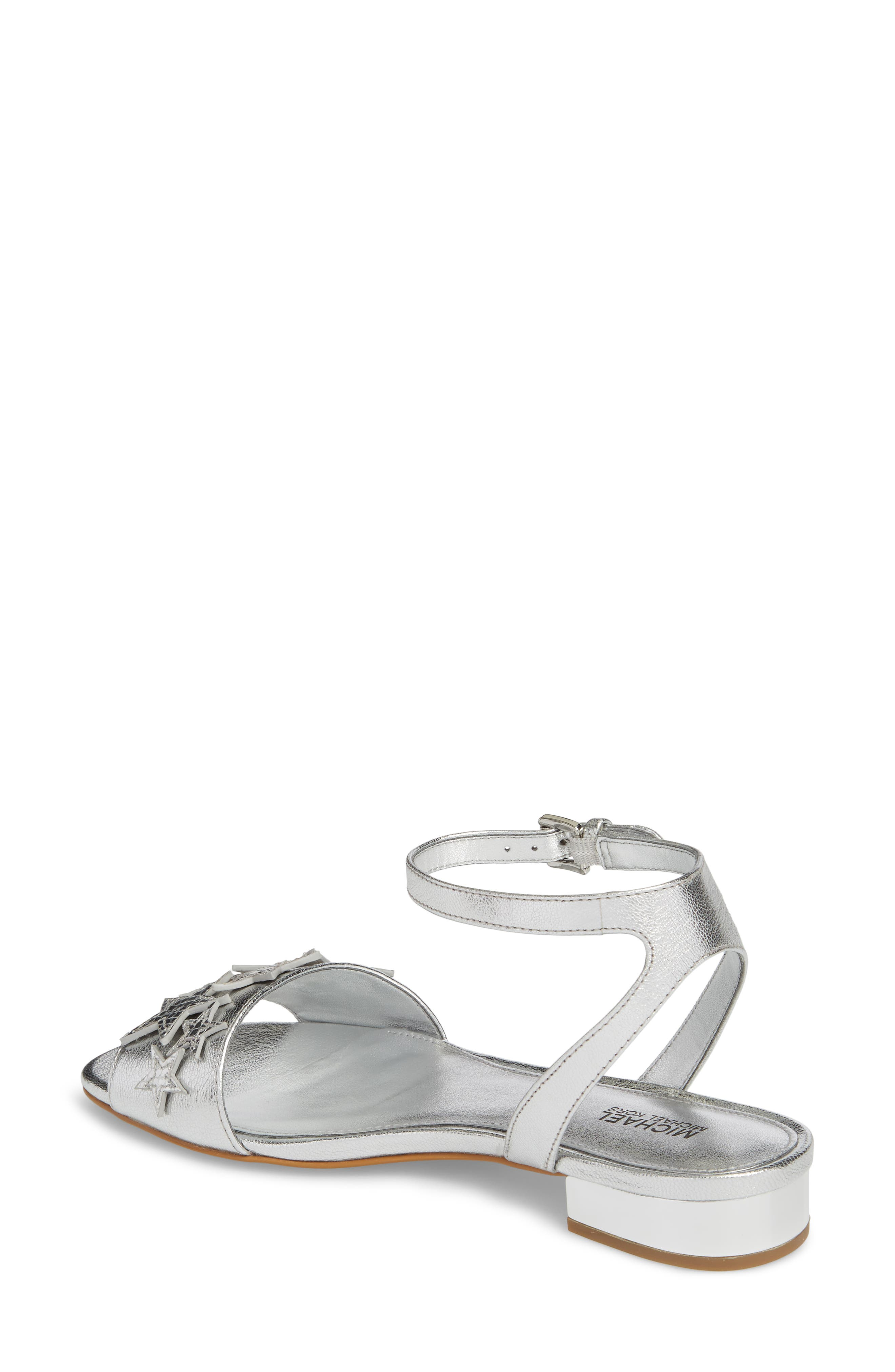 Lexie Star Embellished Sandal,                             Alternate thumbnail 2, color,                             Silver Nappa Leather