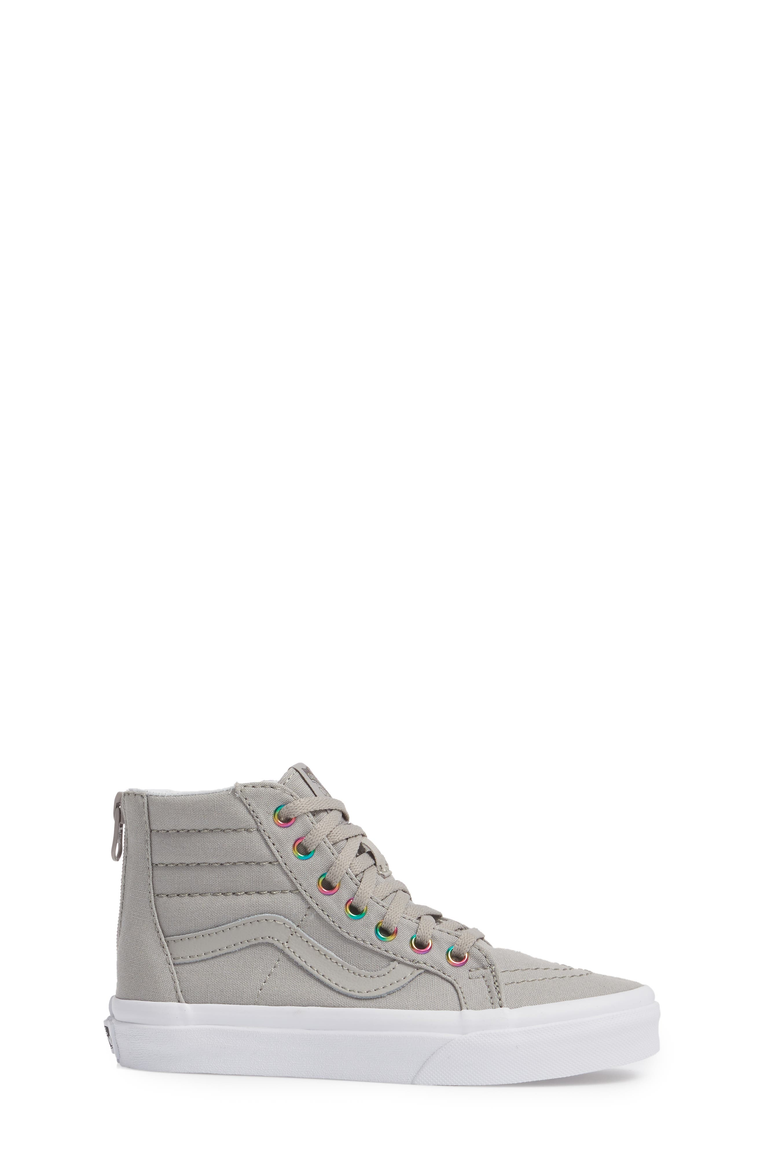 Sk8-Hi Zip High Top Sneaker,                             Alternate thumbnail 3, color,                             Rainbow Eyelet Drizzle