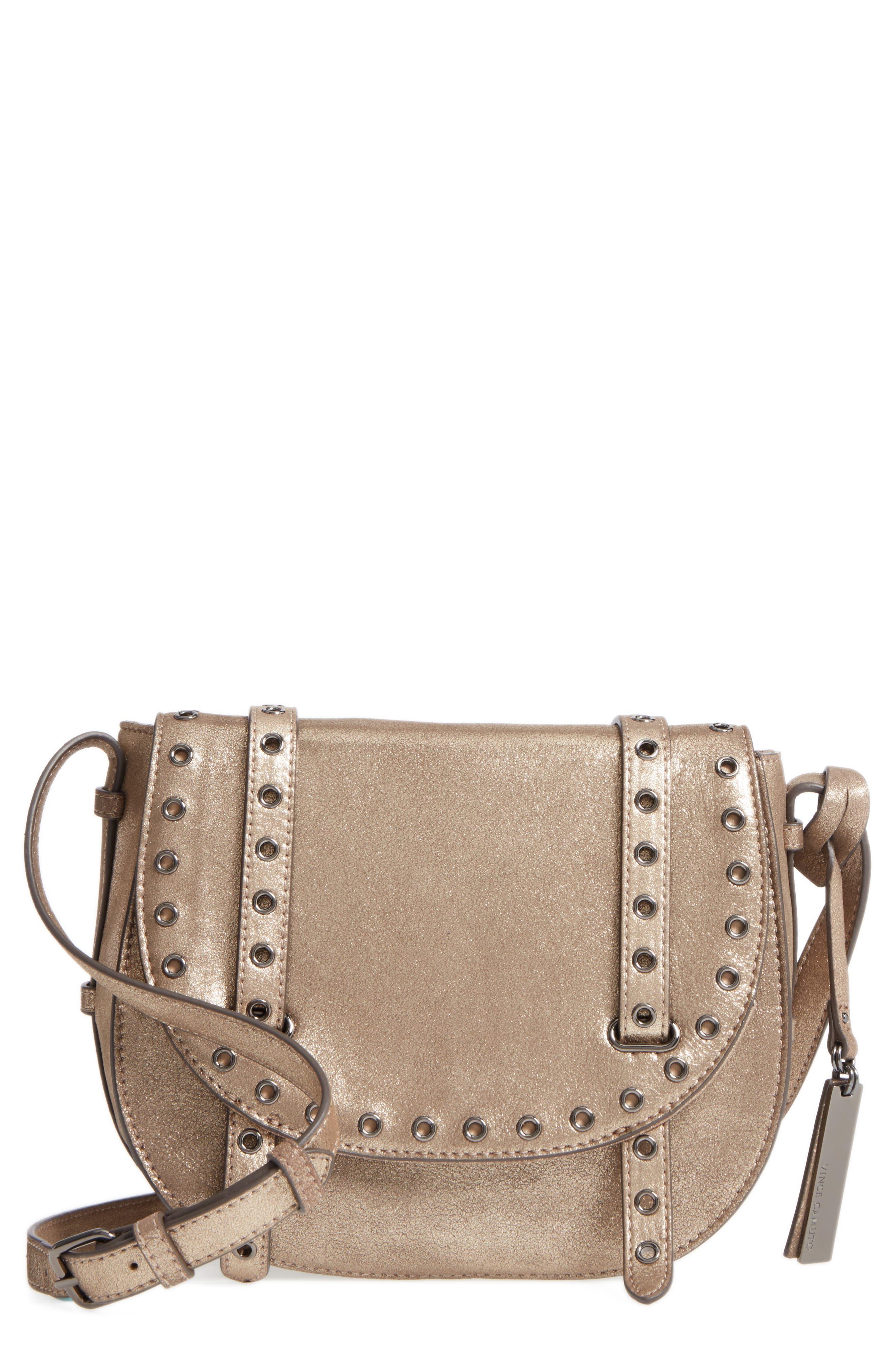 Vince Camuto Areli Suede & Leather Crossbody Saddle Bag