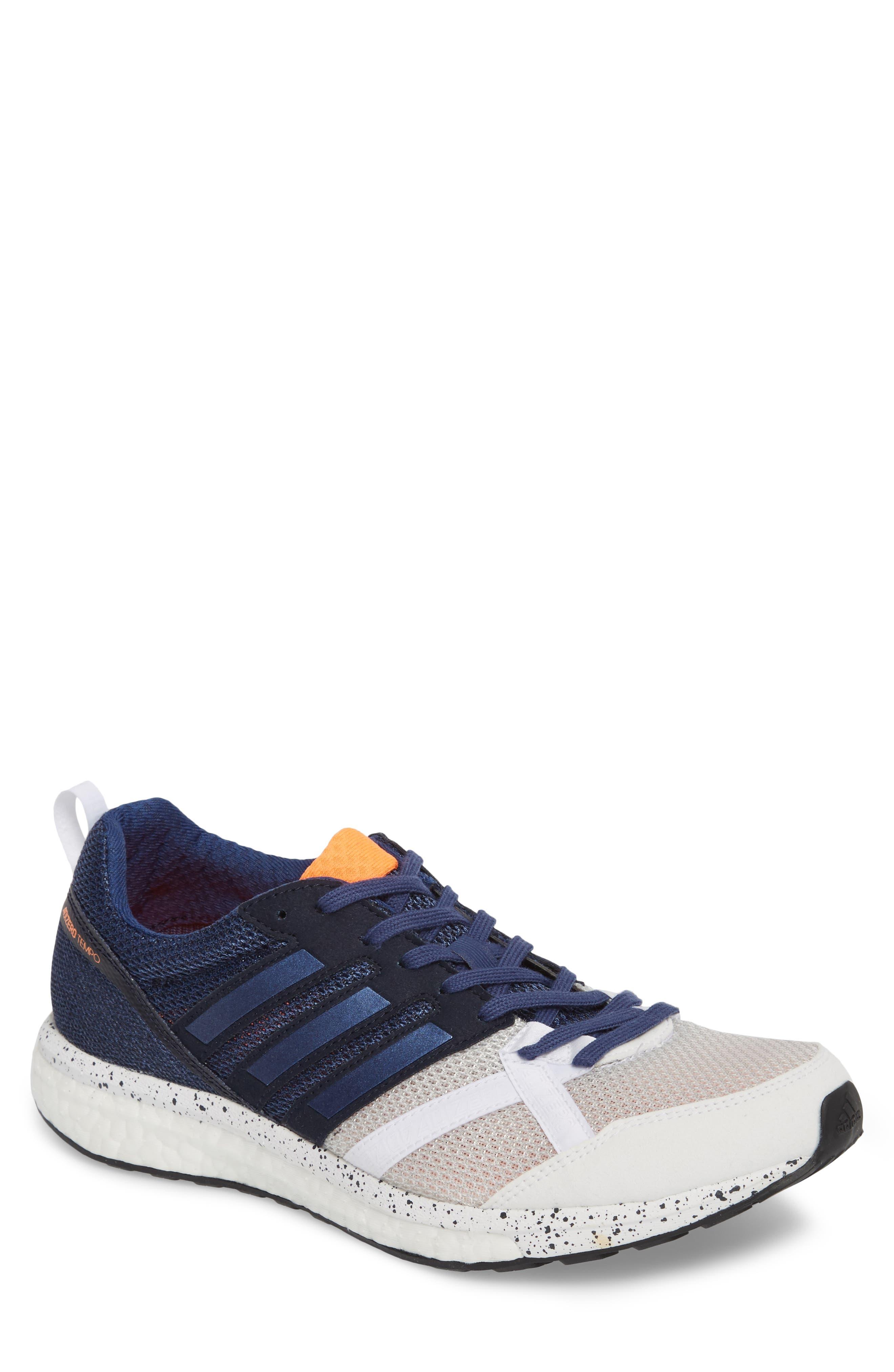 Adizero Tempo 9 M Running Shoe,                             Main thumbnail 1, color,                             White/ Indigo/ Core Black