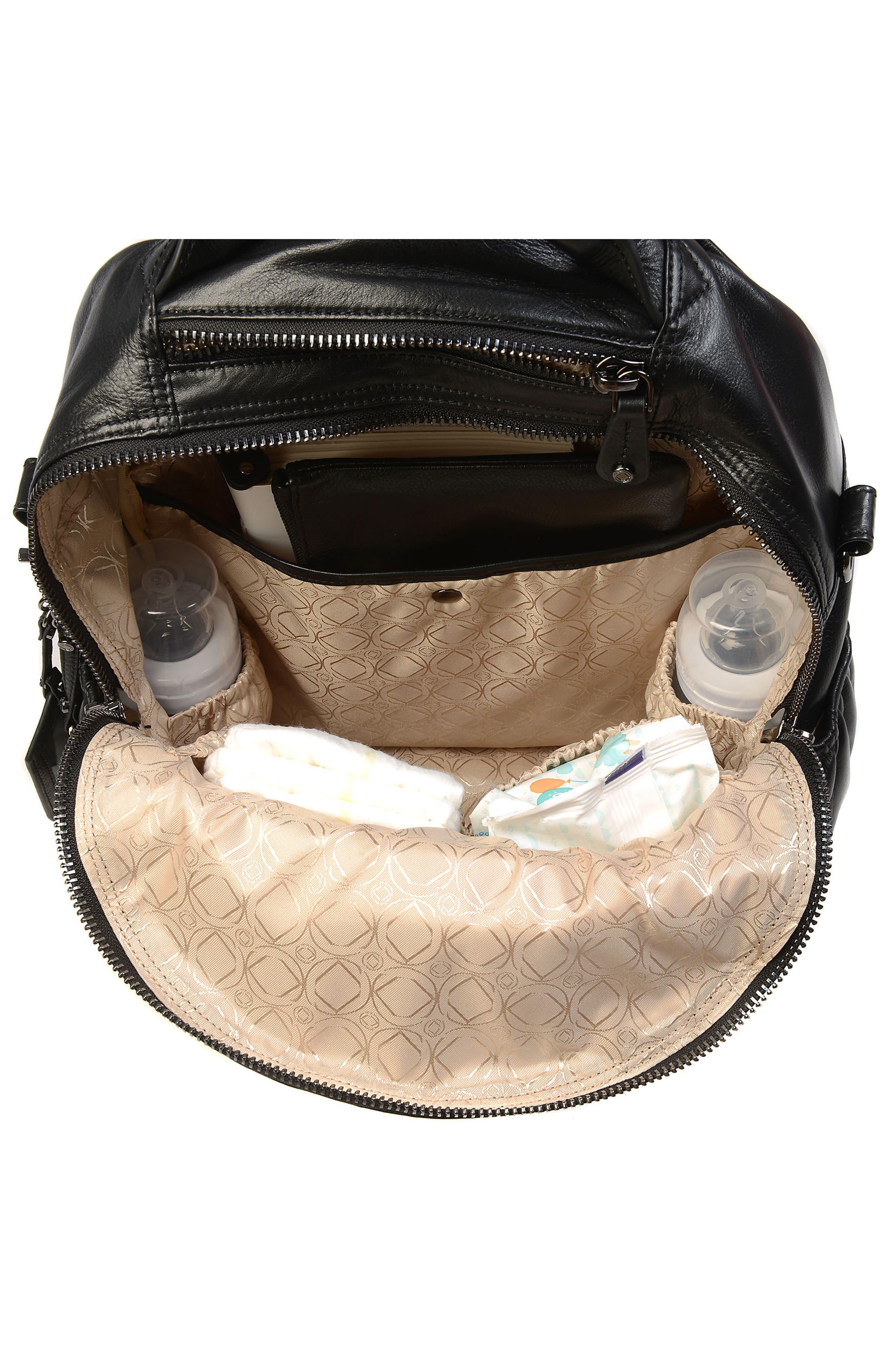 Joy XL Leather Backpack,                             Alternate thumbnail 6, color,                             Black