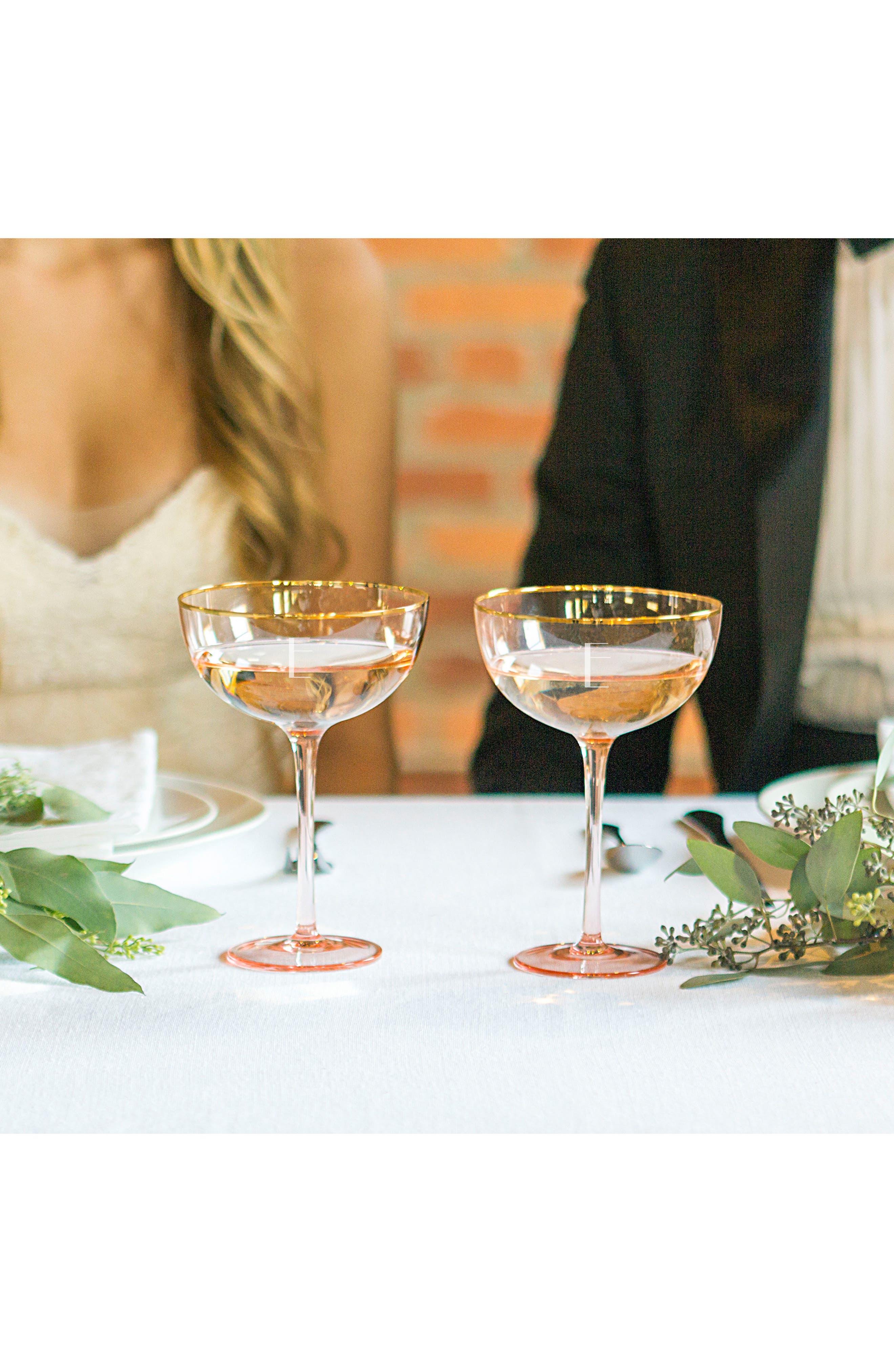 Monogram Set of 2 Champagne Coupes,                             Alternate thumbnail 3, color,                             Blush