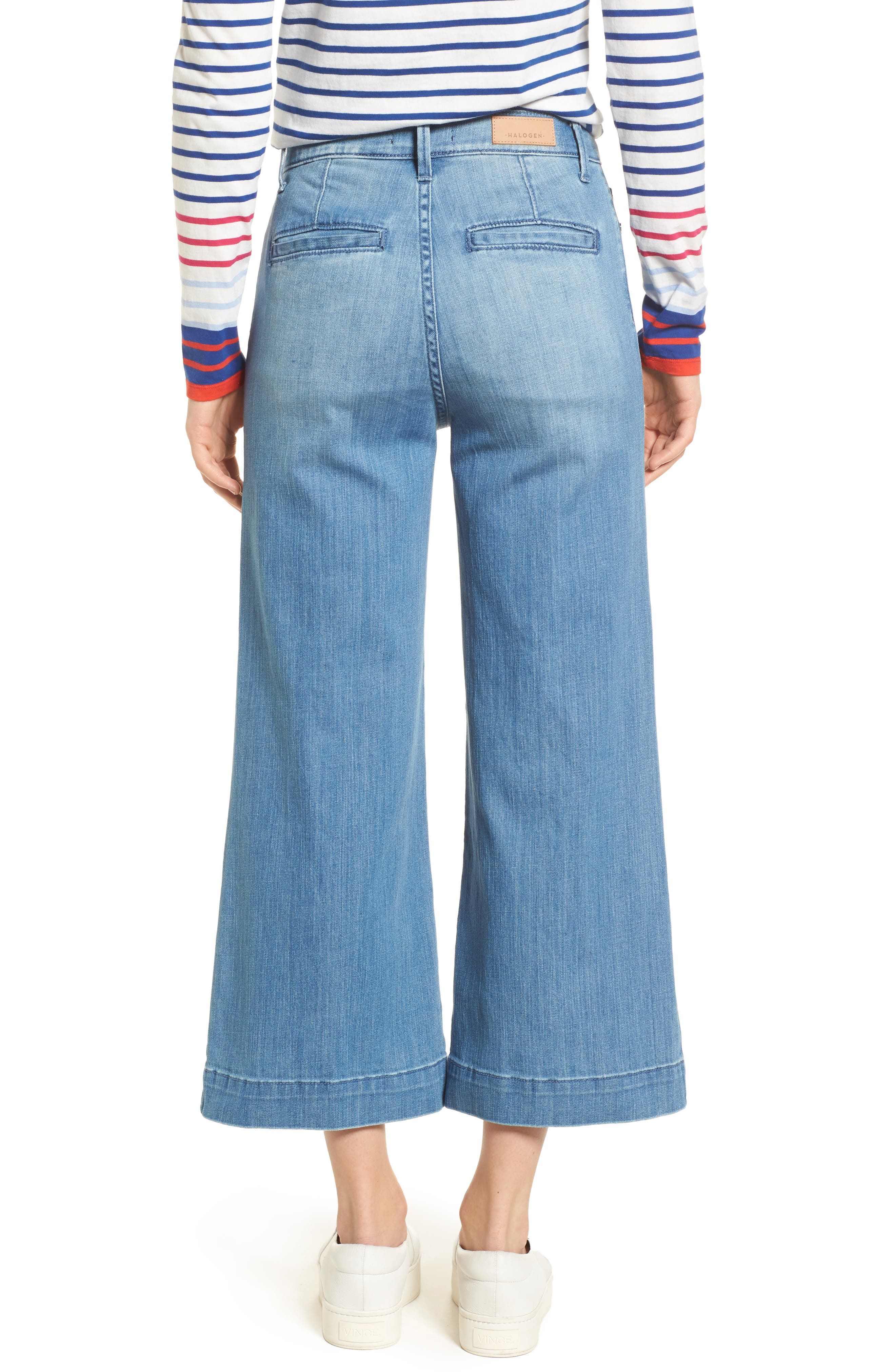 Wide Leg Cropped Jeans,                             Alternate thumbnail 3, color,                             Modern Wash
