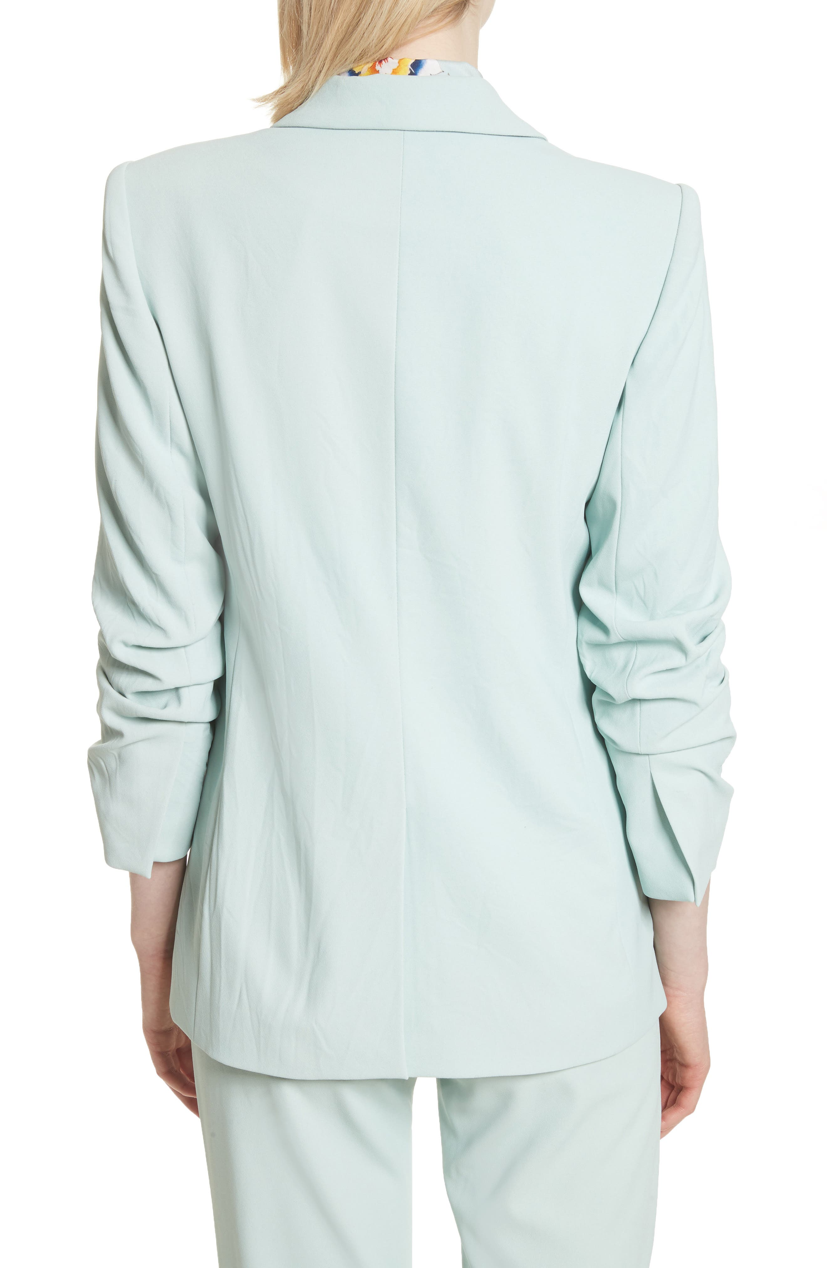 Ruched Sleeve Blazer,                             Alternate thumbnail 2, color,                             Light Dusty Aqua