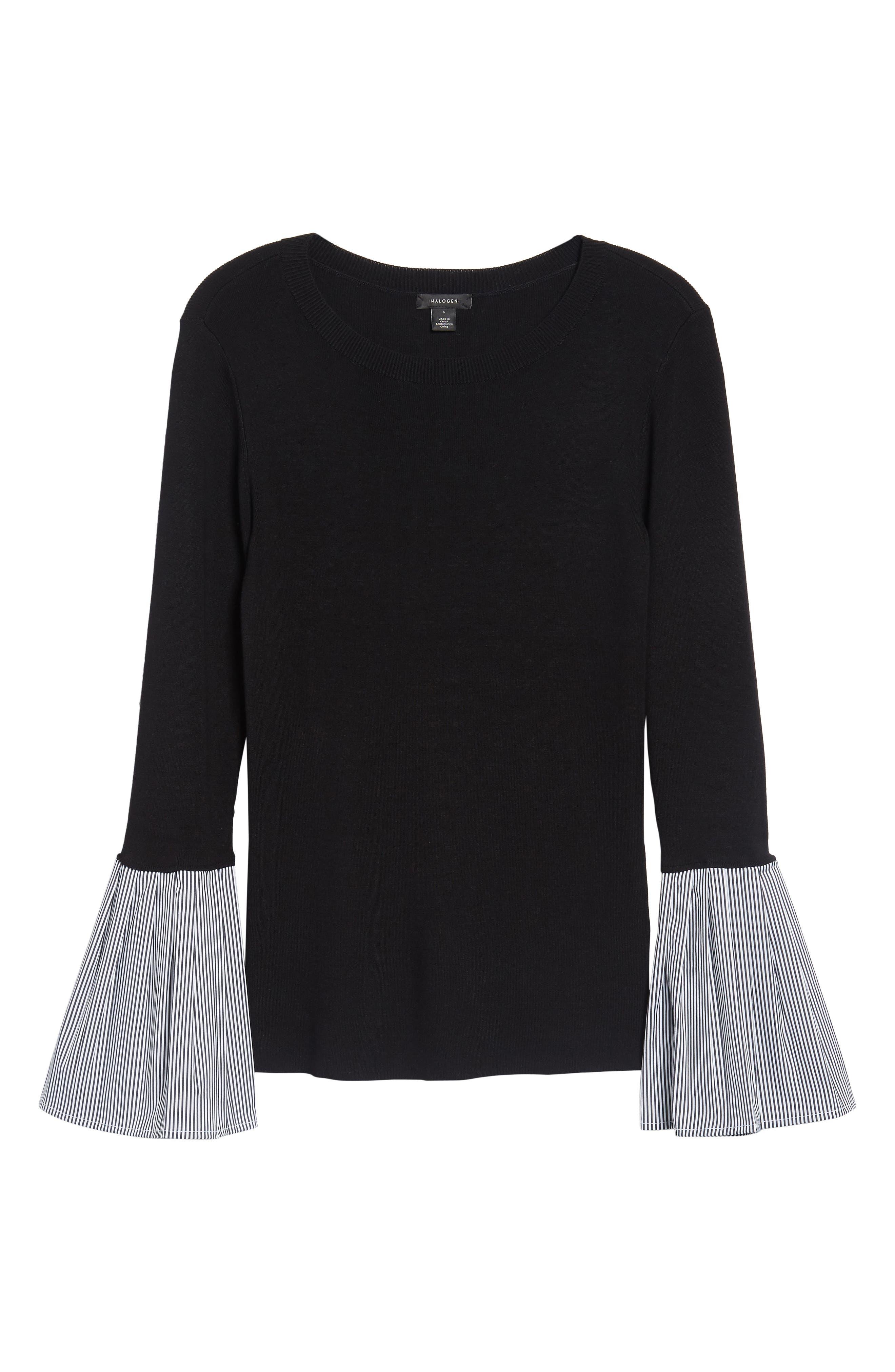 Poplin Bell Cuff Sweater,                             Alternate thumbnail 6, color,                             Black