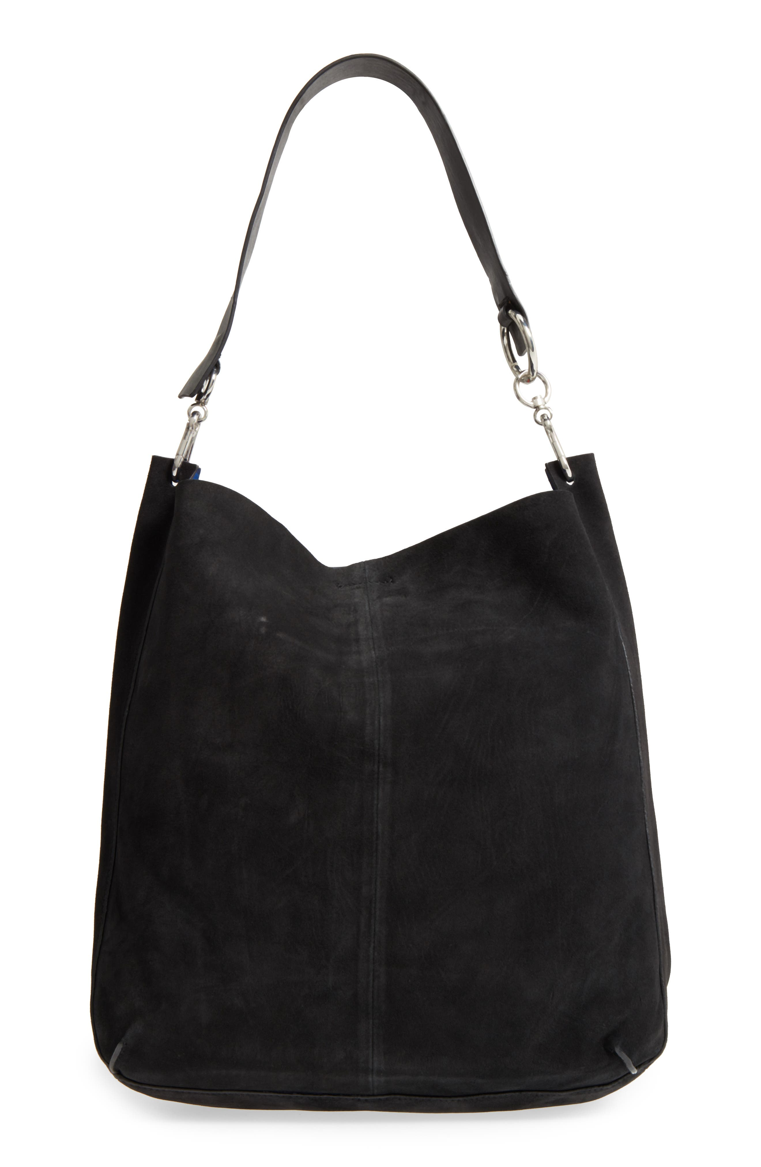 Asymmetric Suede Hobo Bag,                             Alternate thumbnail 3, color,                             Black