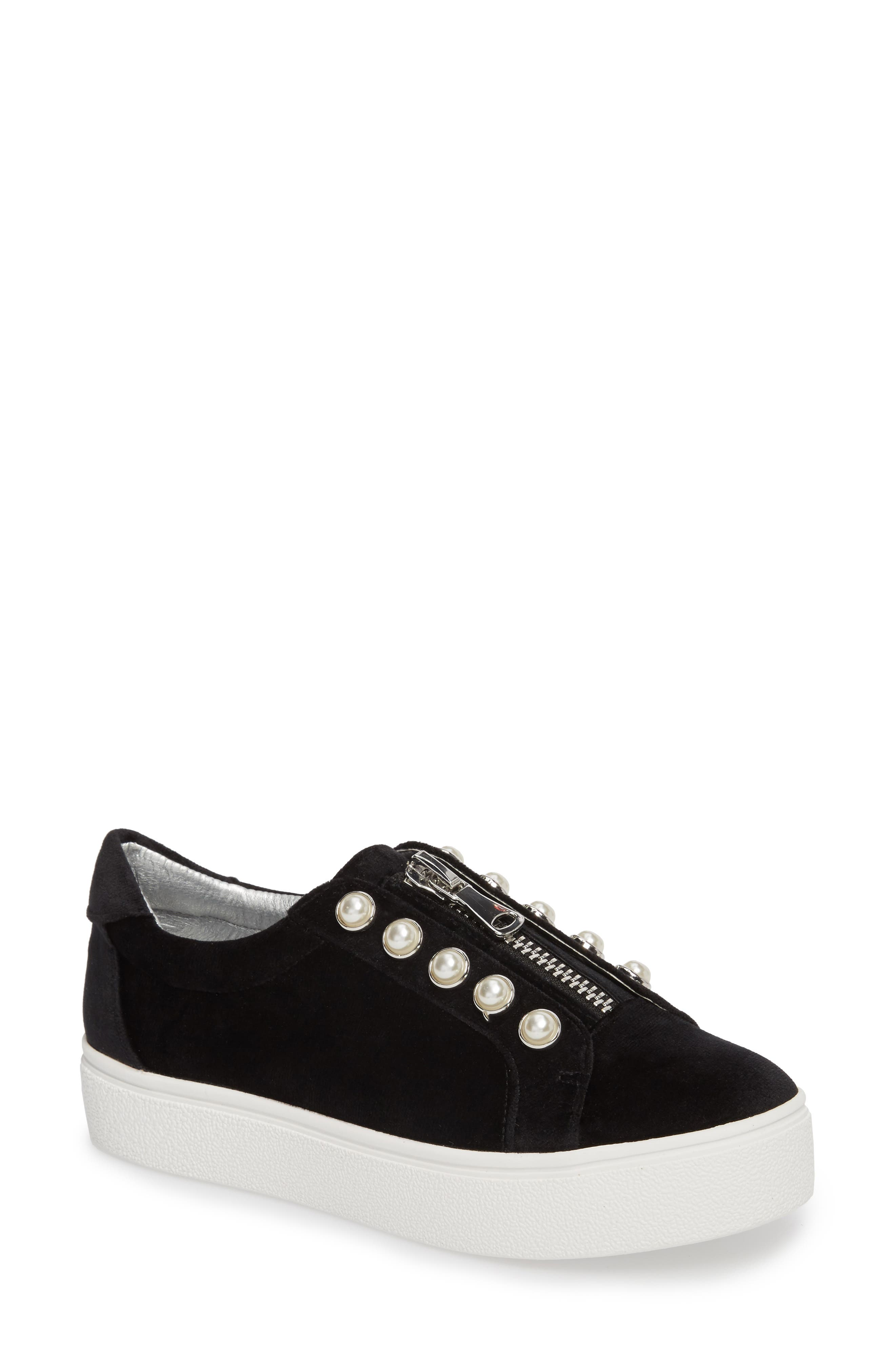 Lynn Embellished Platform Sneaker,                         Main,                         color, Black Velvet