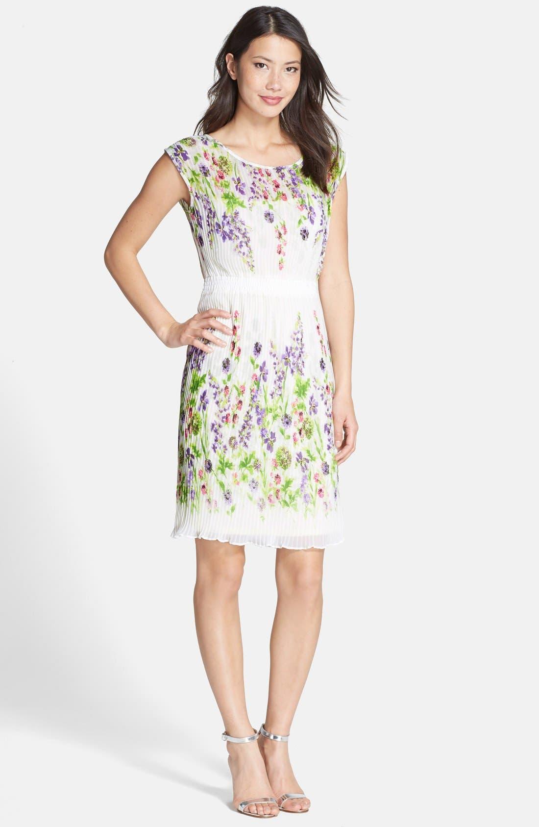 Alternate Image 4  - Gabby Skye Floral Print Chiffon Pleated Dress