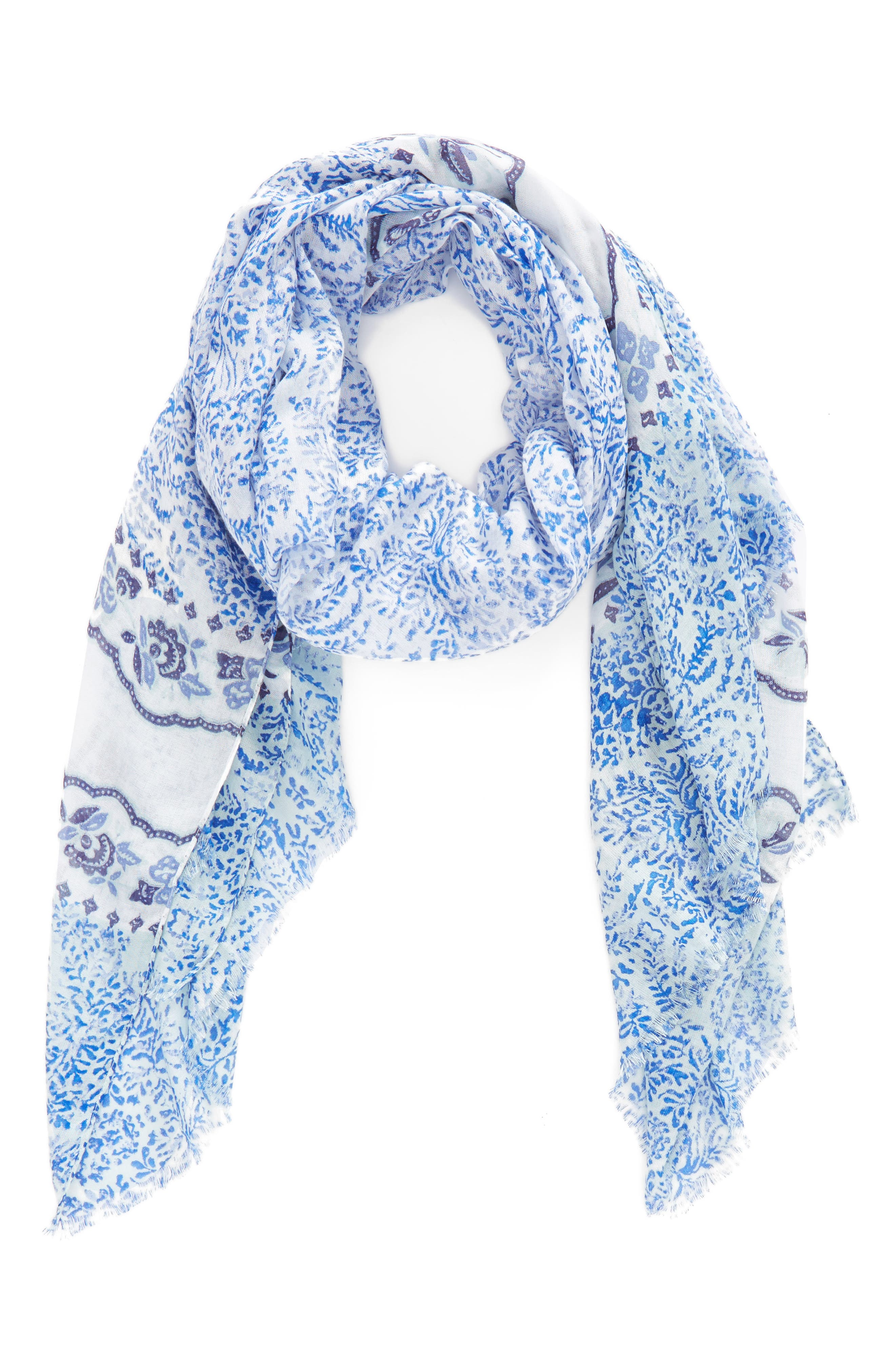 Print Modal Scarf,                             Alternate thumbnail 2, color,                             Blue Blooming Waves Scarf