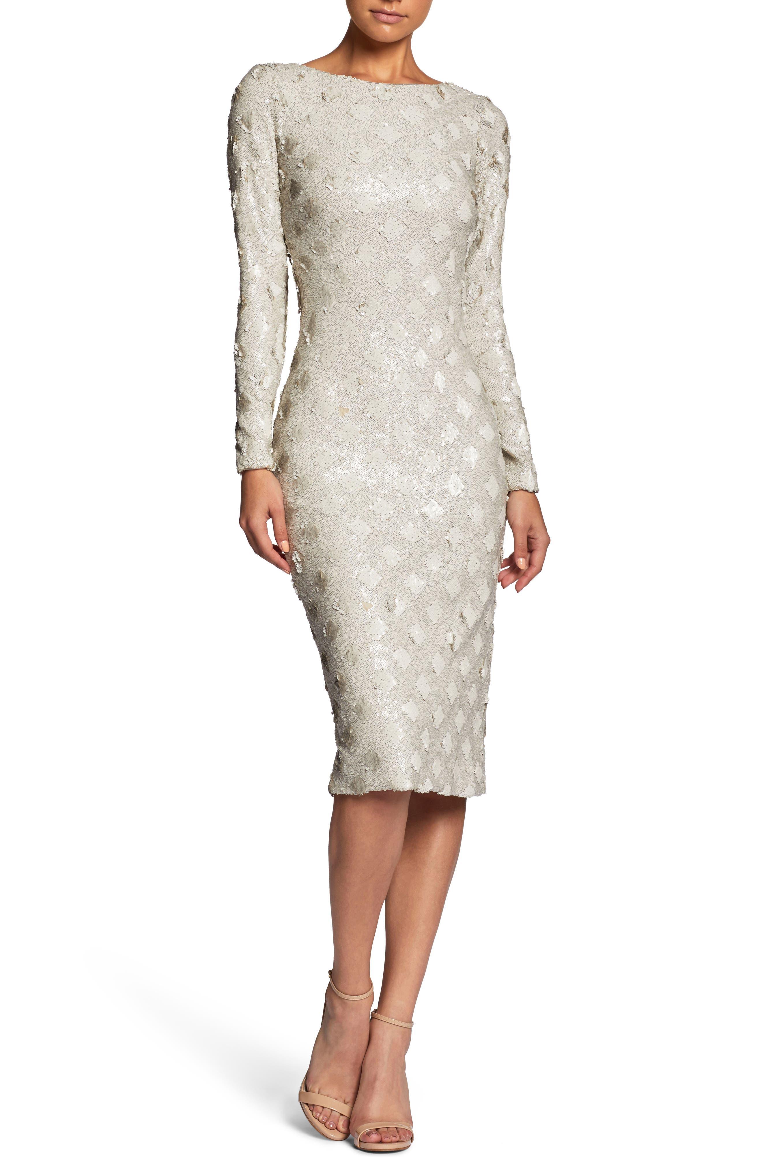 Emery Sequin Sheath Dress,                         Main,                         color, Bone