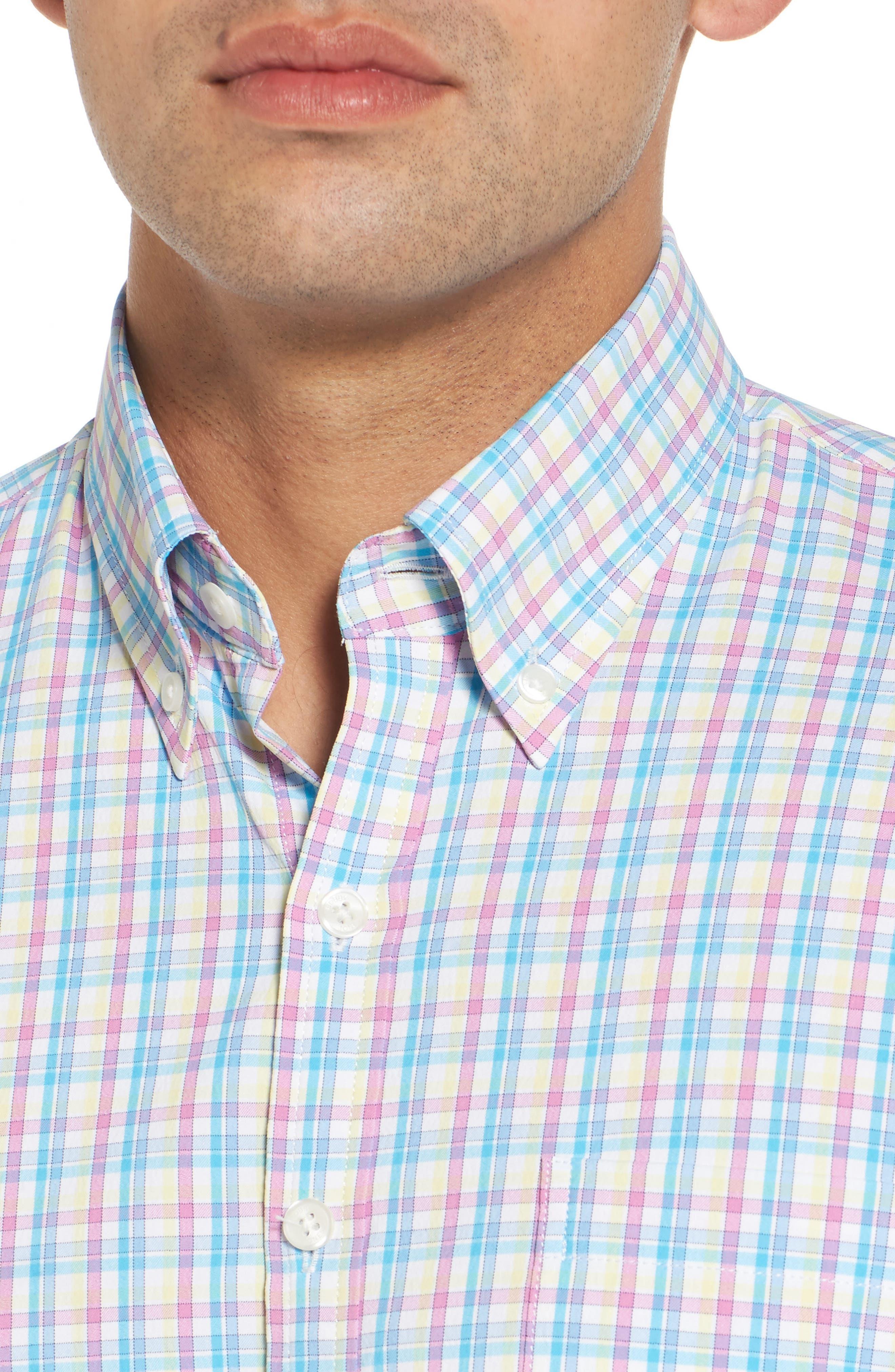 Dorian Plaid Easy Care Sport Shirt,                             Alternate thumbnail 4, color,                             White