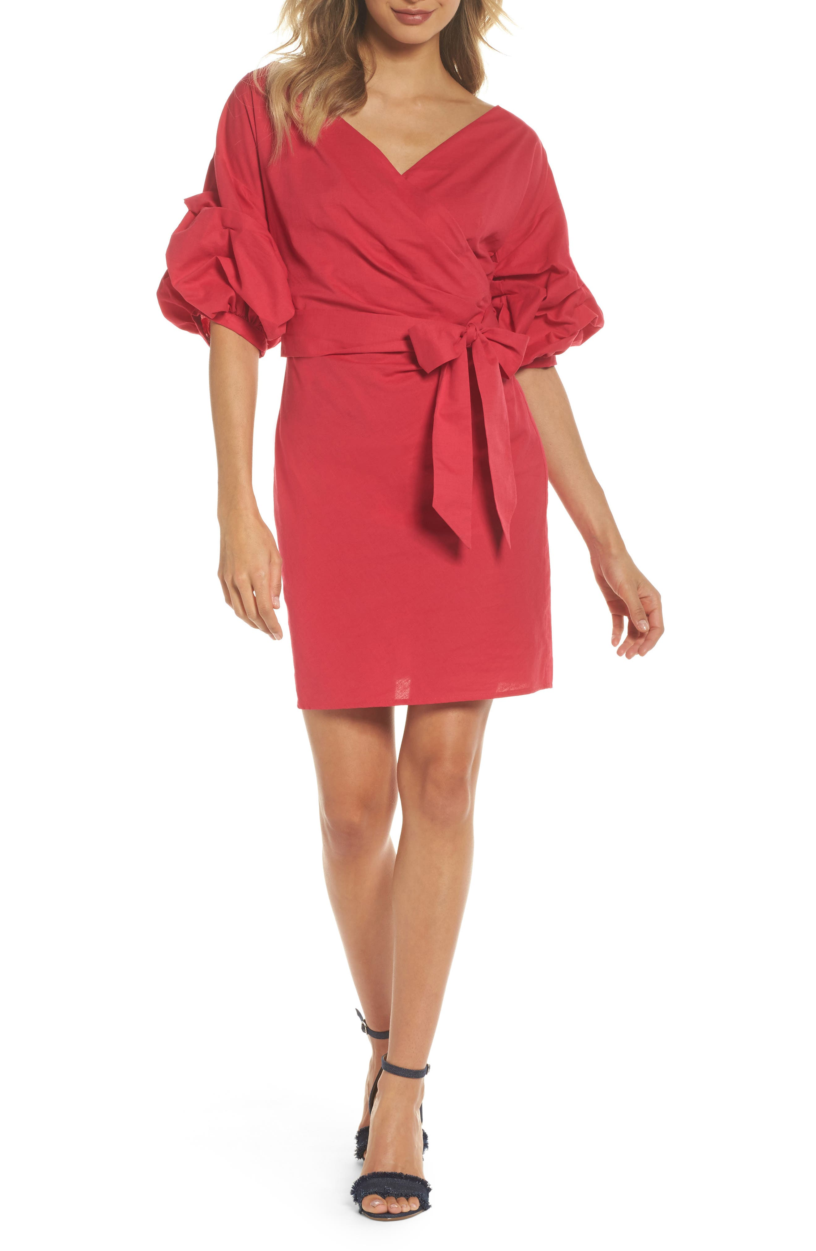Billow Sleeve Dress,                         Main,                         color, Red Barberry
