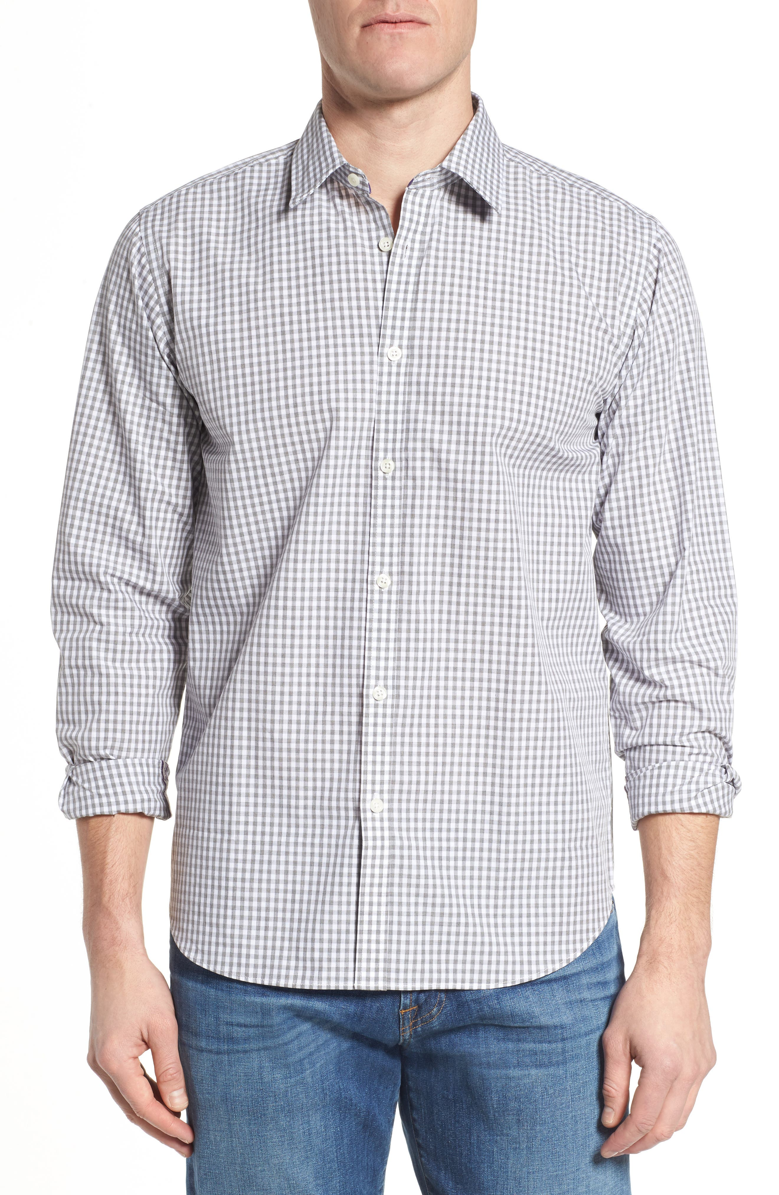Fitted Check Sport Shirt,                             Main thumbnail 1, color,                             Medium Grey