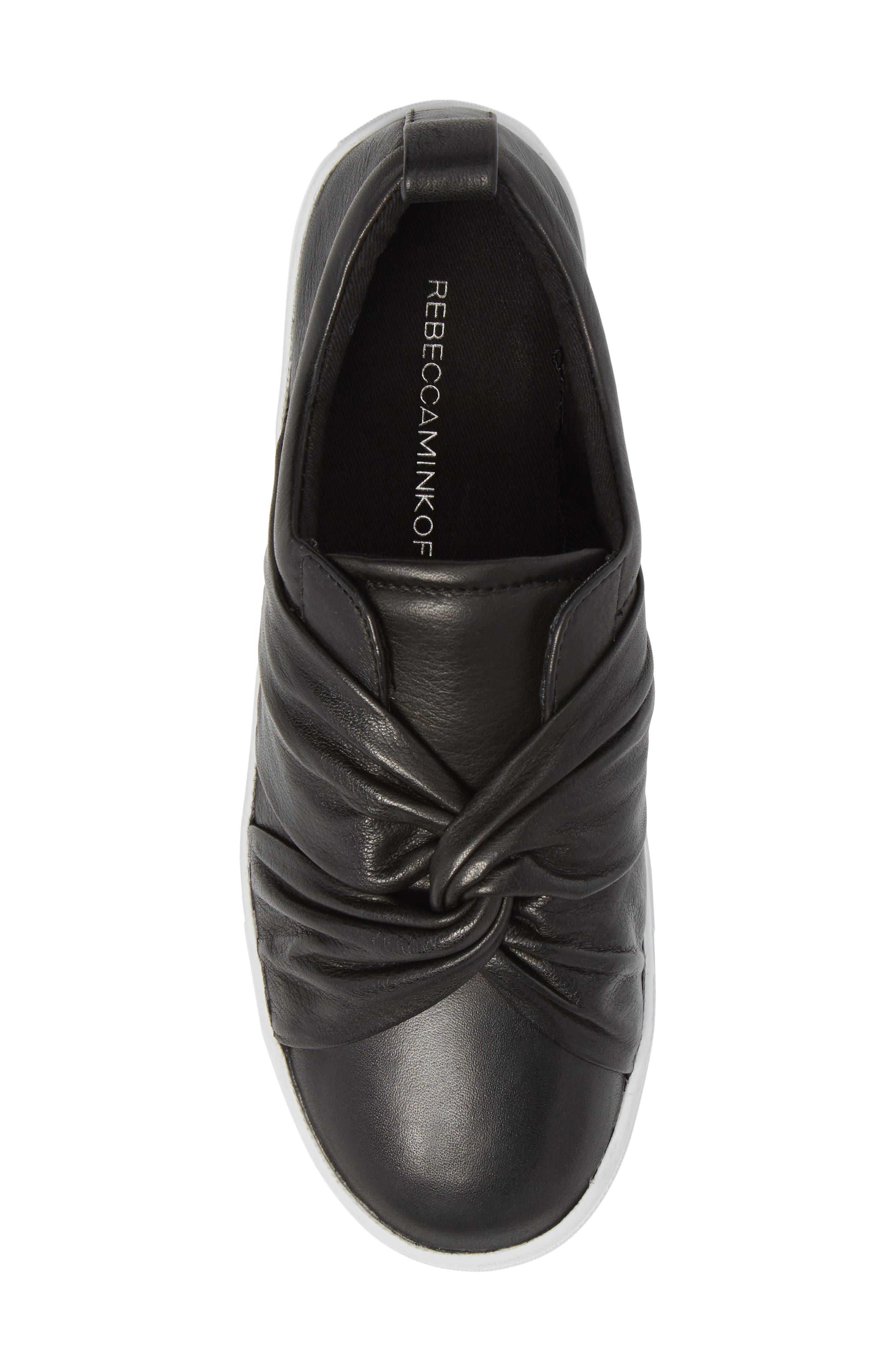 Nicole Platform Sneaker,                             Alternate thumbnail 5, color,                             Black Leather