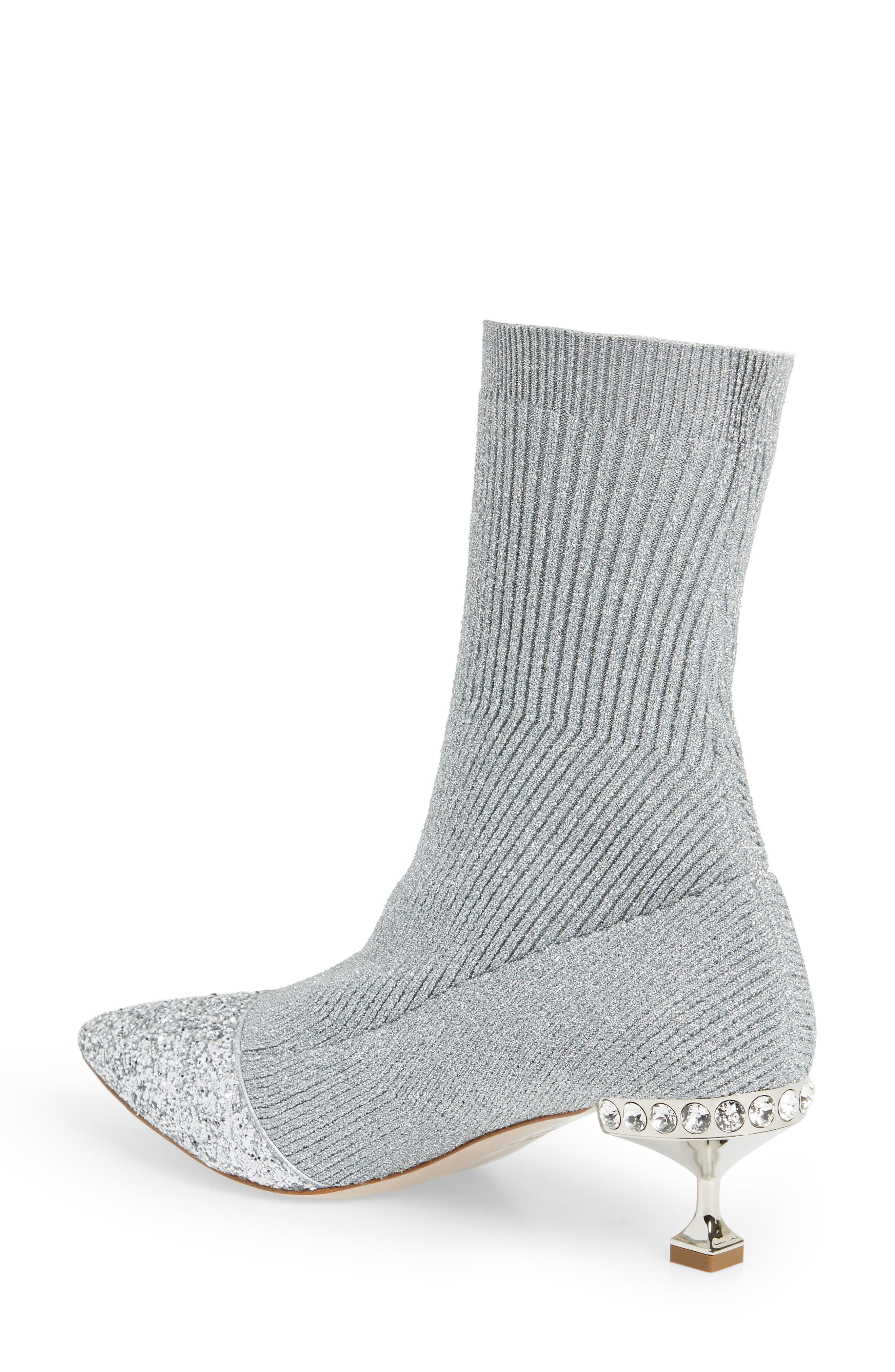 Embellished Metallic Sock Bootie,                             Alternate thumbnail 2, color,                             Silver