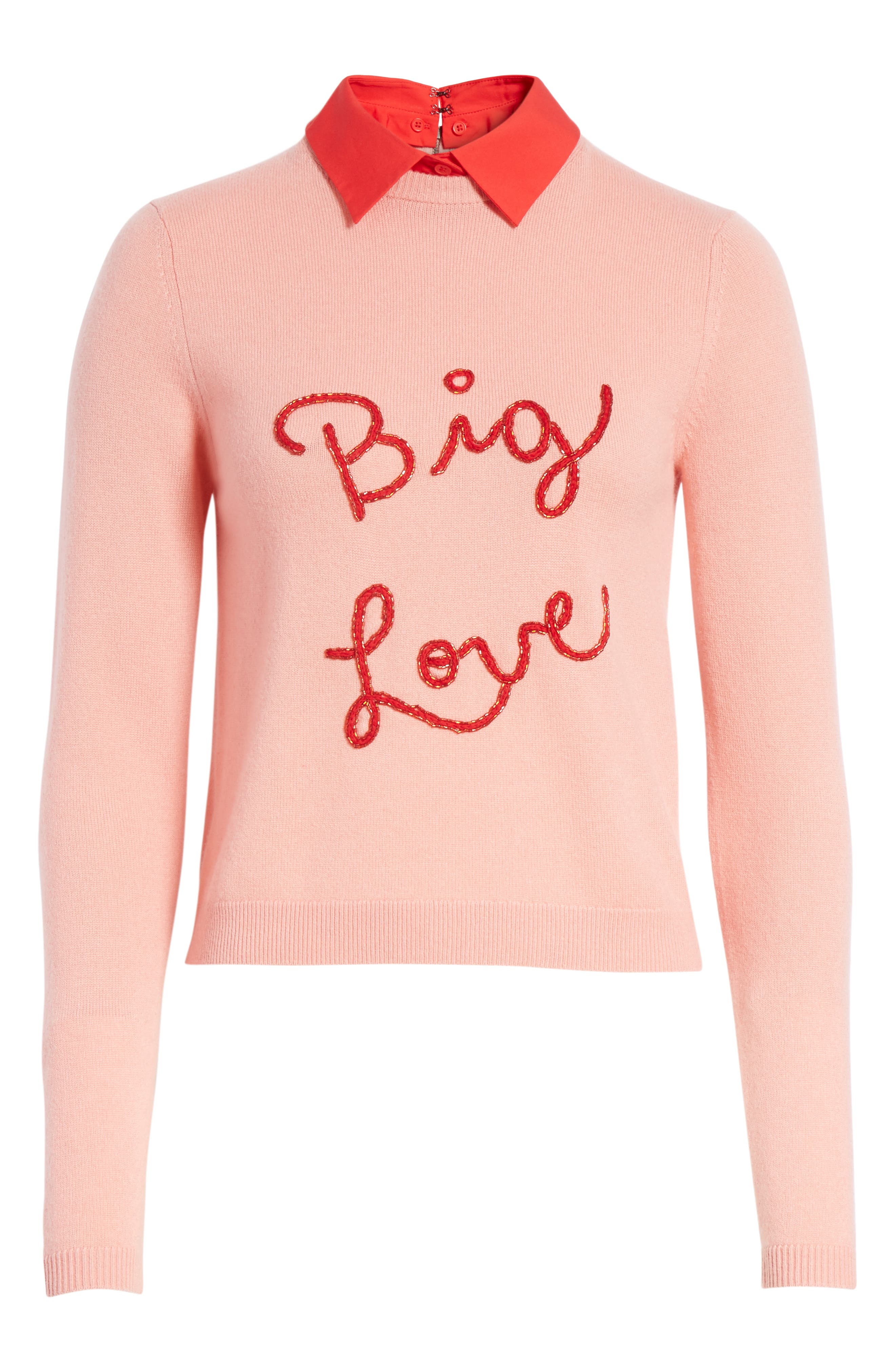 Big Love Embroidered Cashmere Sweater,                             Alternate thumbnail 6, color,                             Millennial Pink/ Apple