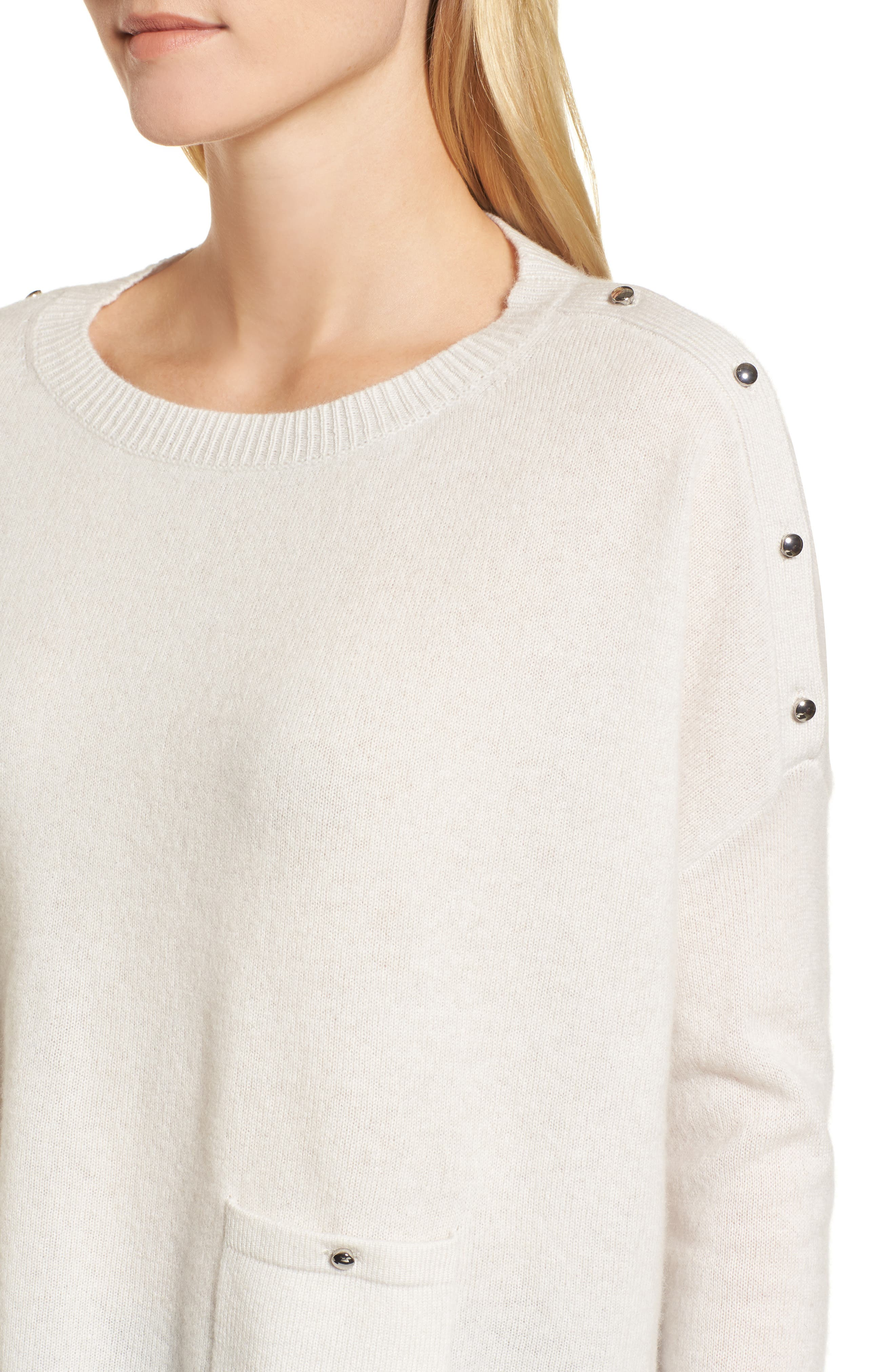 Button Detail Cashmere Sweater,                             Alternate thumbnail 4, color,                             Beige Pumice