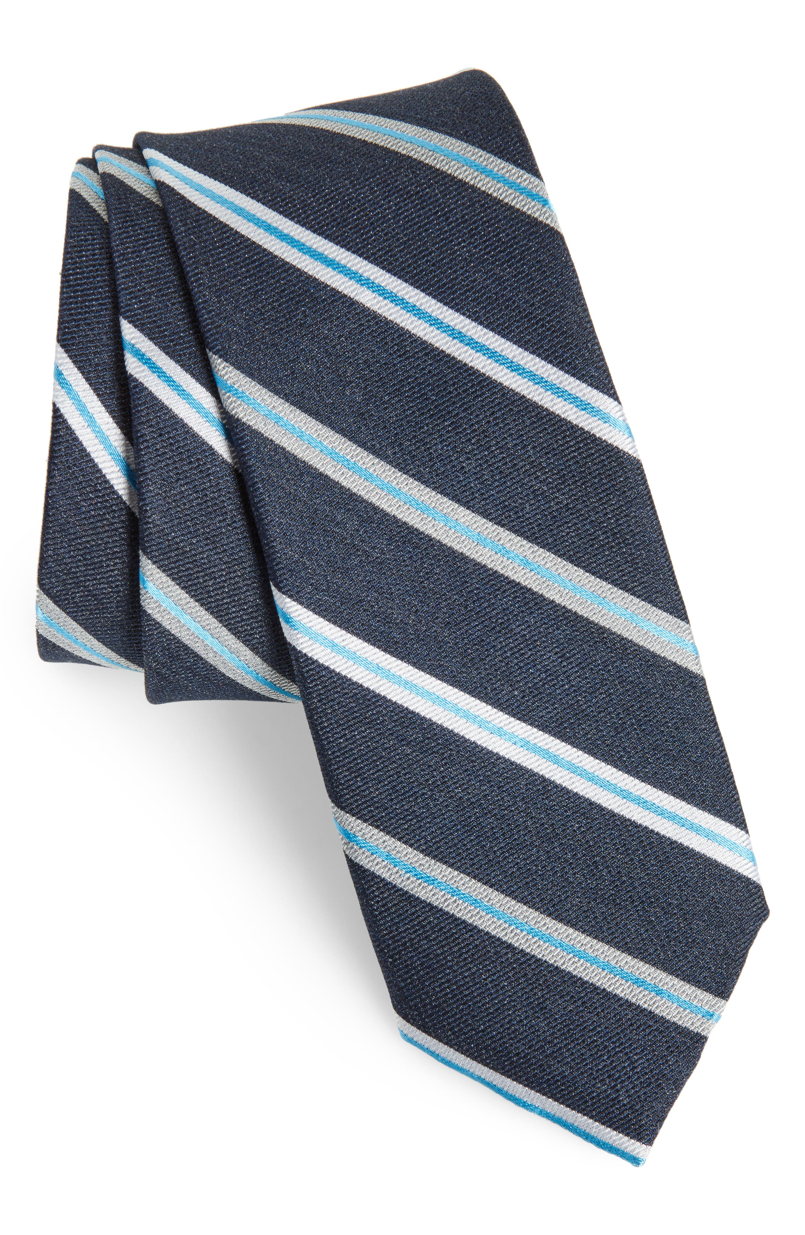 Crosby Stripe Silk Blend Tie,                             Main thumbnail 1, color,                             Dark Navy