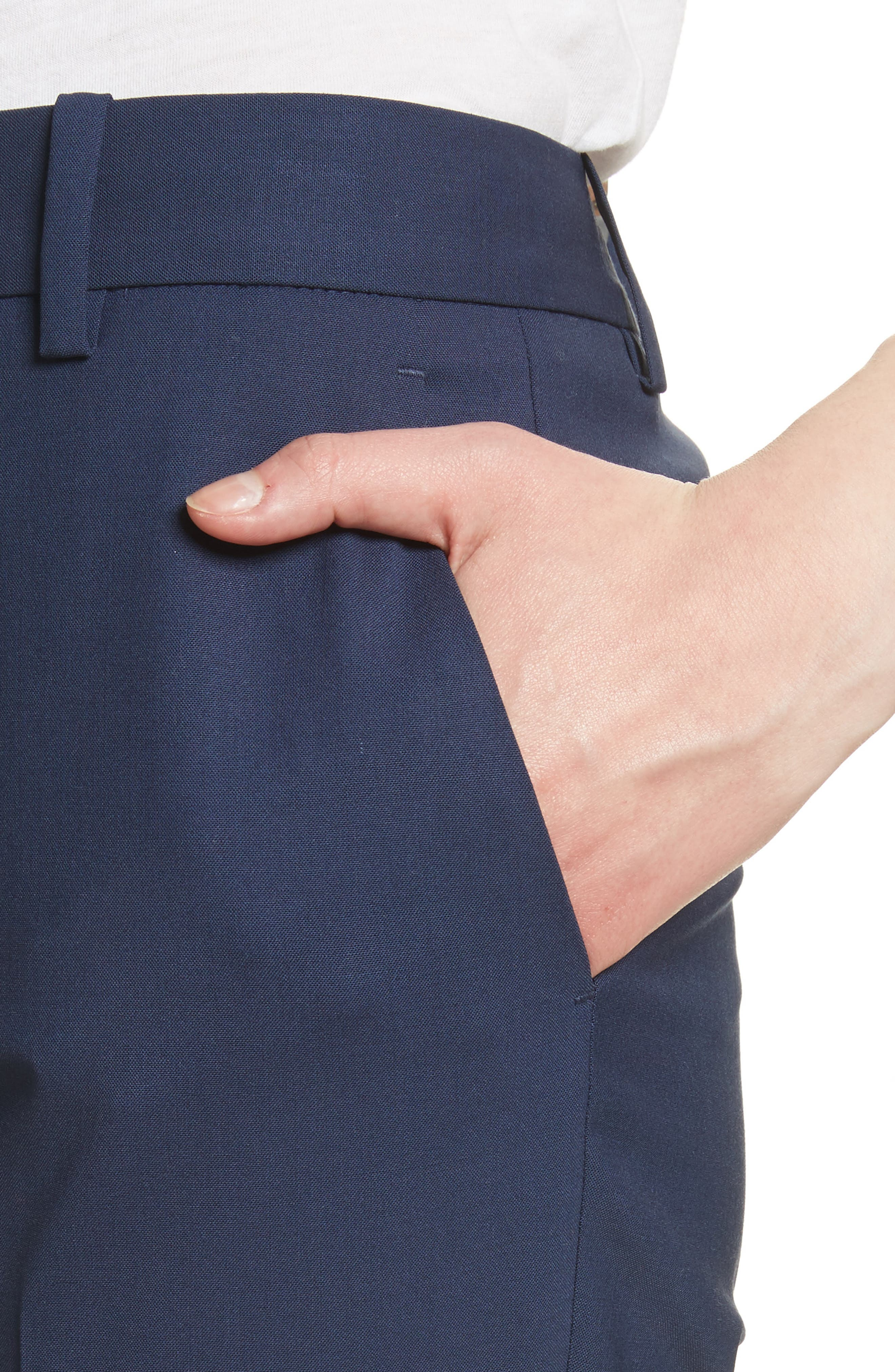 Treeca 2 Good Wool Crop Suit Pants,                             Alternate thumbnail 4, color,                             Sea Blue