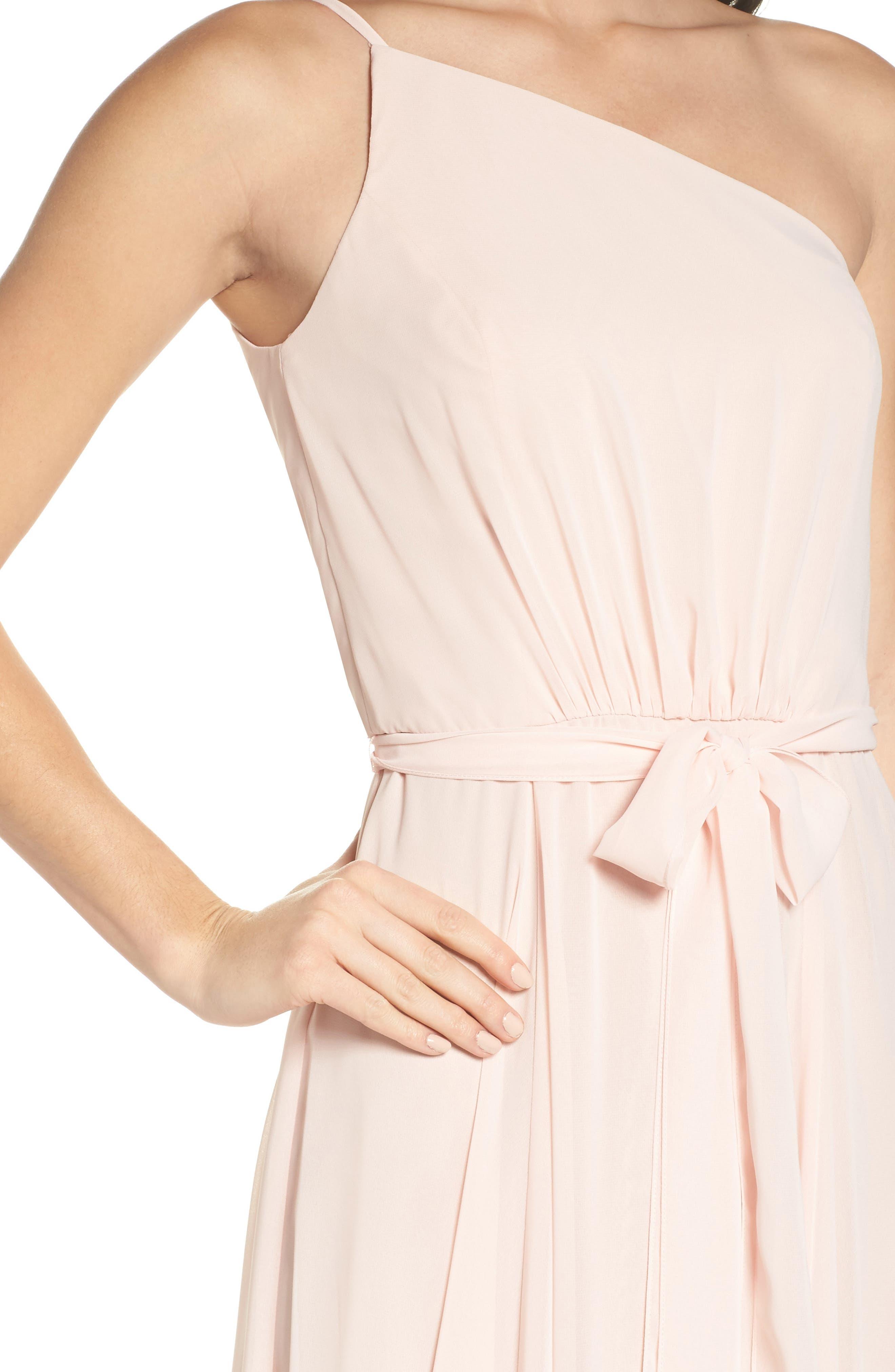 Alternate Image 4  - Amsale One-Shoulder Chiffon A-Line Gown