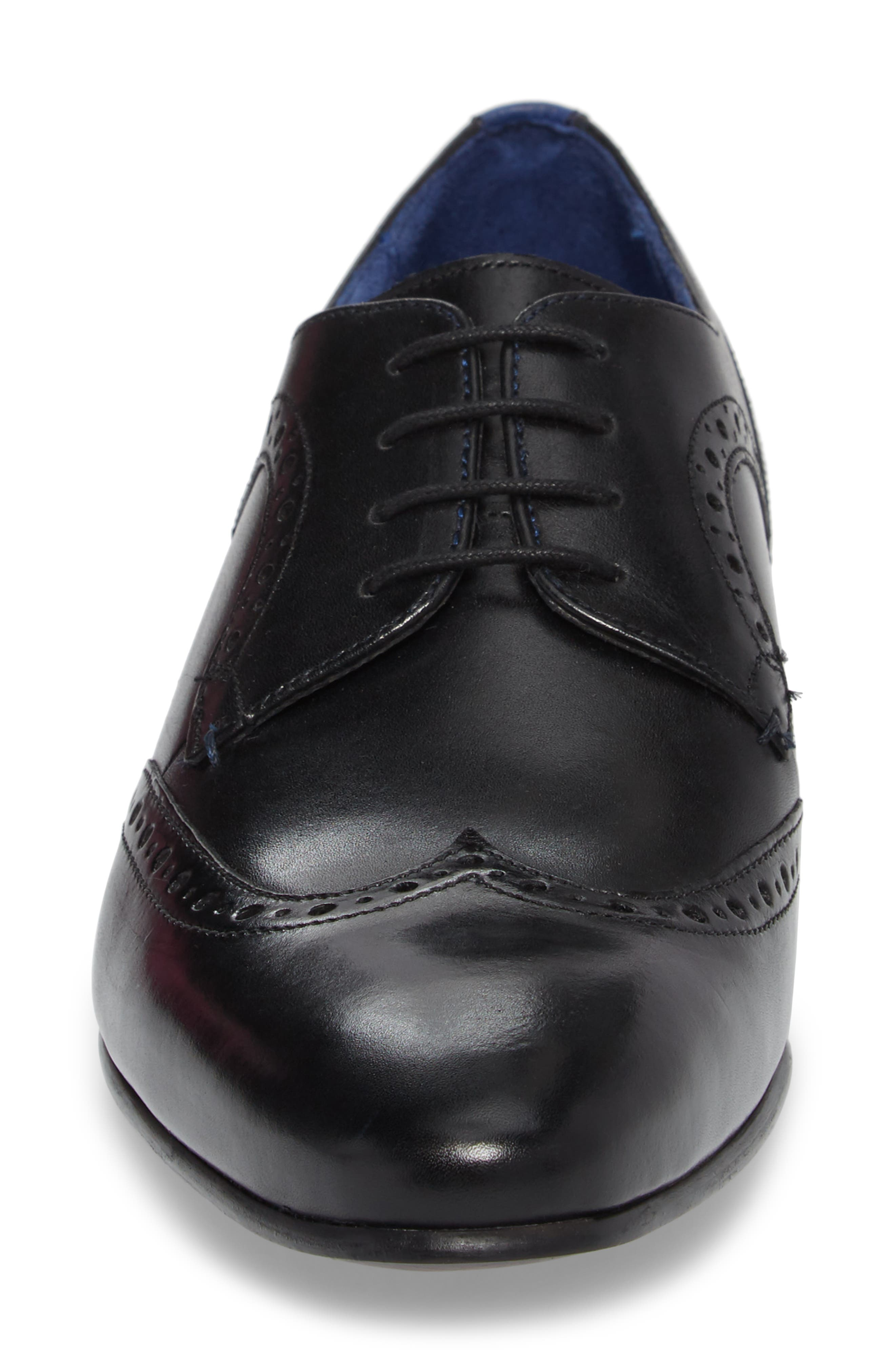 Ollivur Wingtip,                             Alternate thumbnail 4, color,                             Black Leather