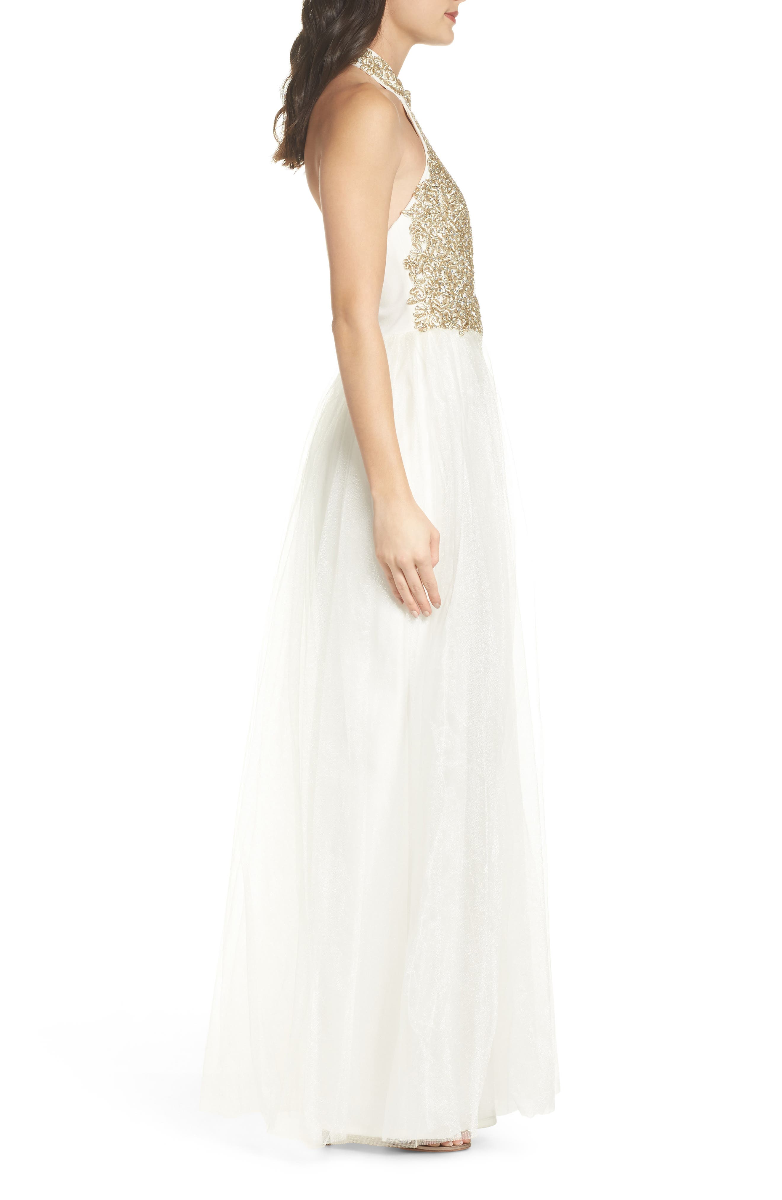 Alternate Image 3  - Sequin Hearts Embellished Halter Gown with Tulle Overskirt