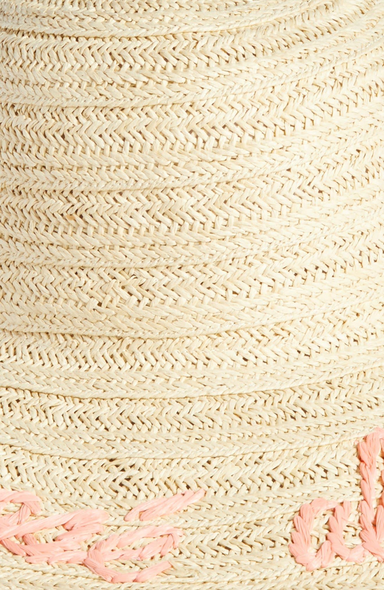 Wordplay Floppy Straw Sun Hat,                             Alternate thumbnail 2, color,                             Pink Tropics Combo