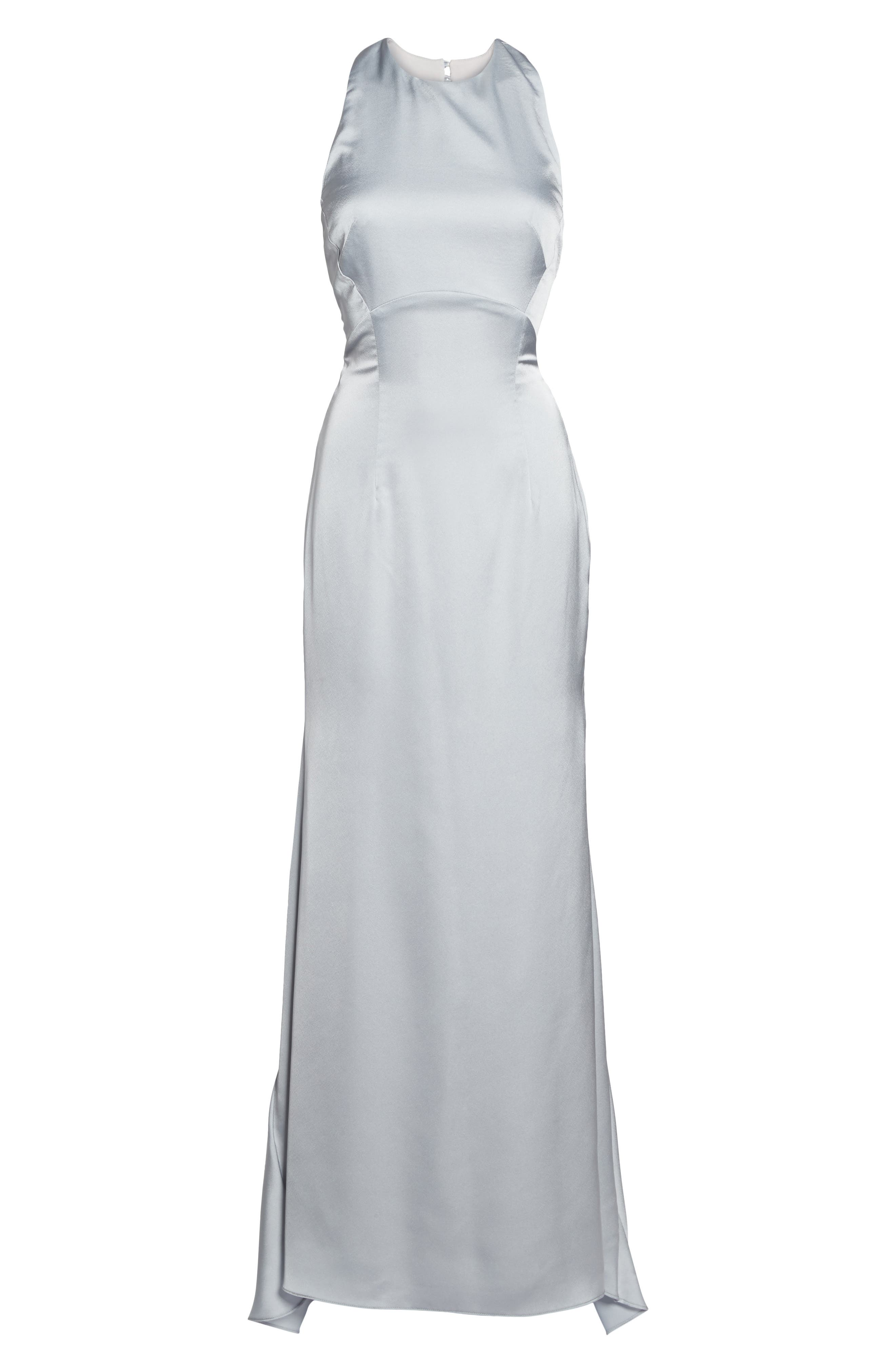 Alternate Image 6  - Jarlo Amara Cross Back Satin Gown