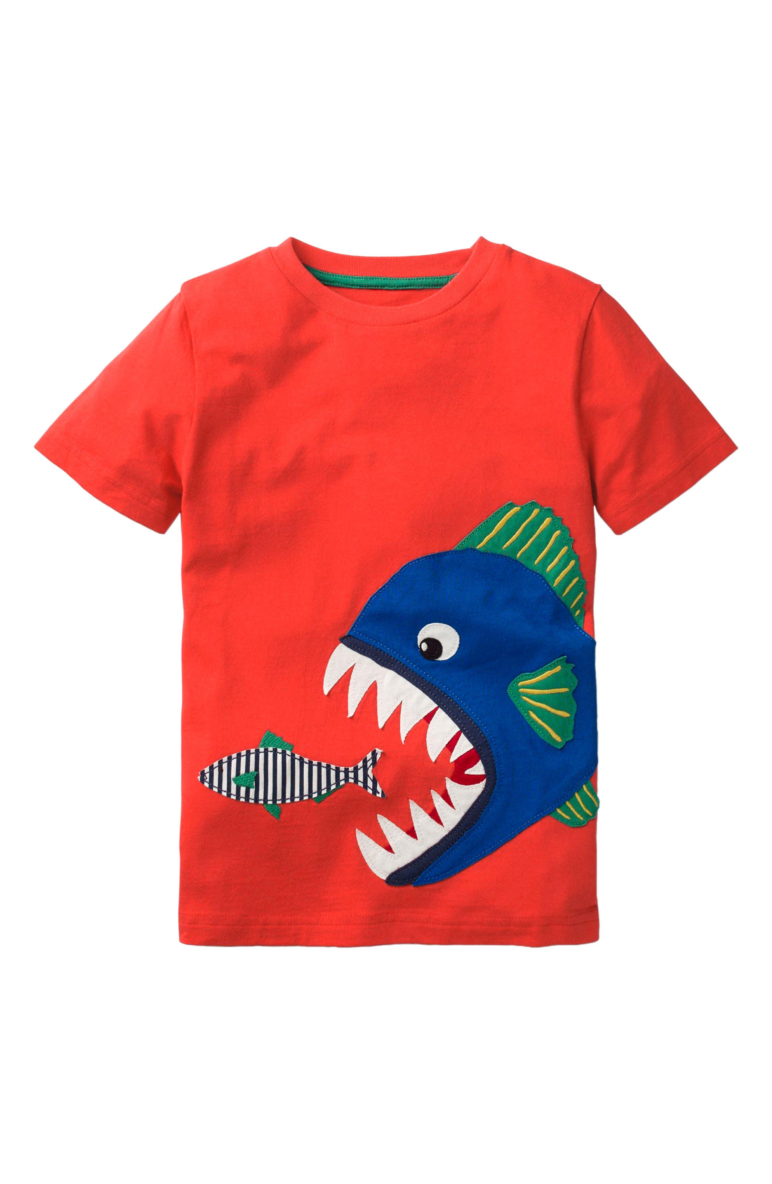 Big Piranha Appliqué T-Shirt,                         Main,                         color, Ziggy Red Piranha
