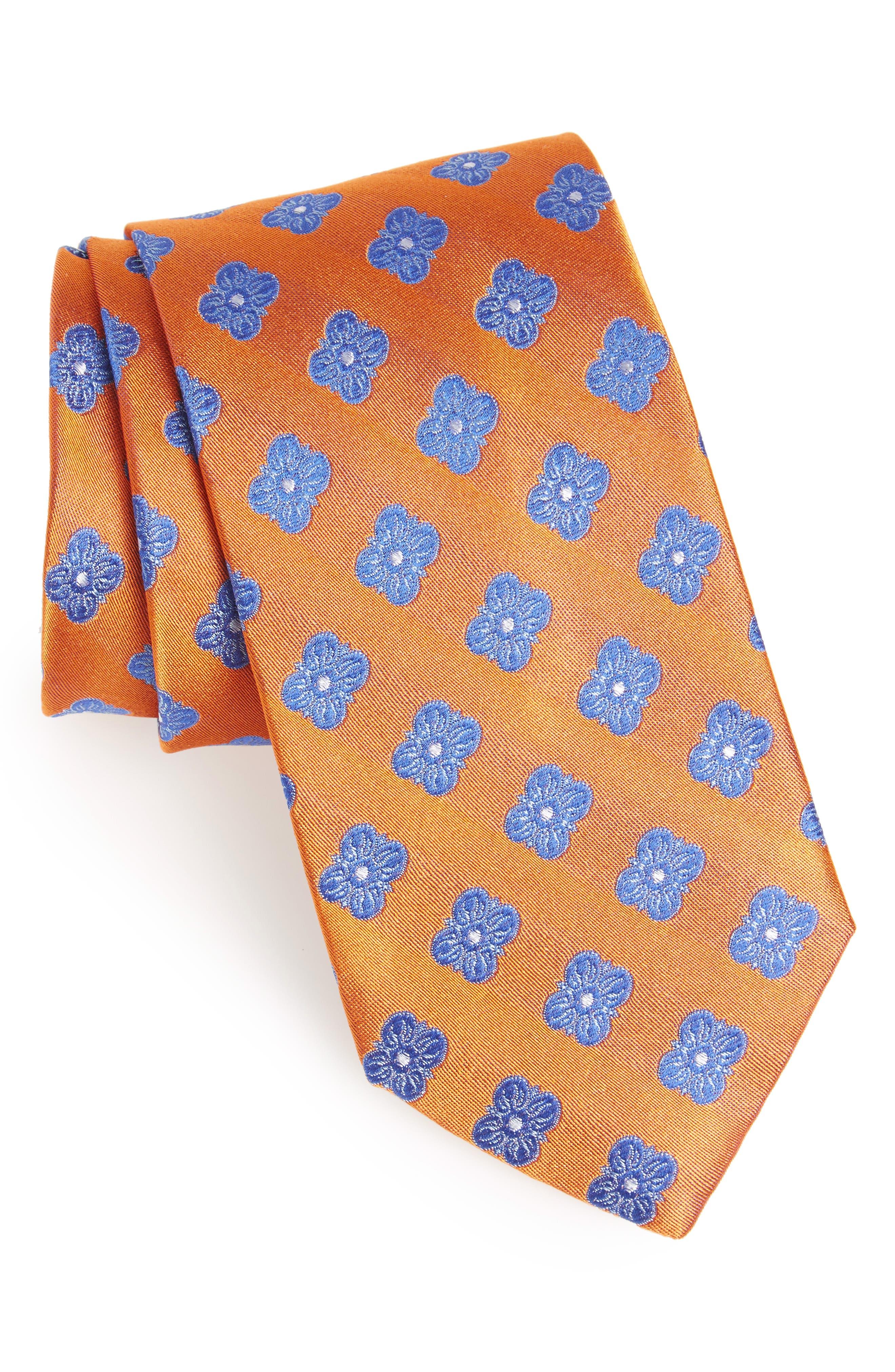 Cameron Floral Medallion Silk Tie,                         Main,                         color, Orange