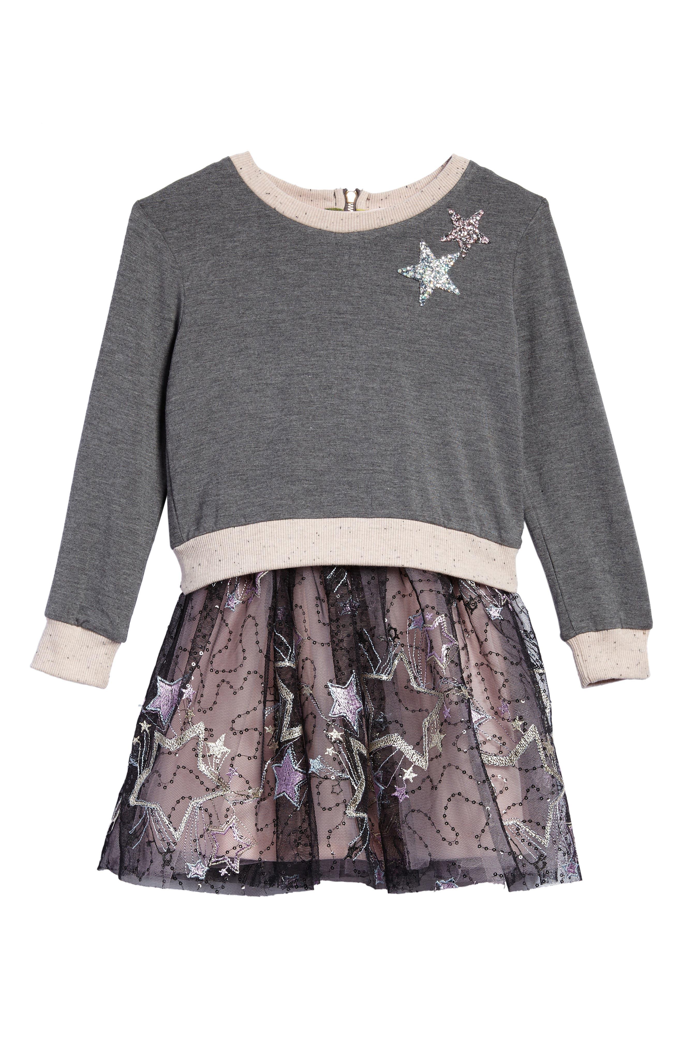 Sweatshirt & Tutu Dress Set,                         Main,                         color, Dark Grey Multi