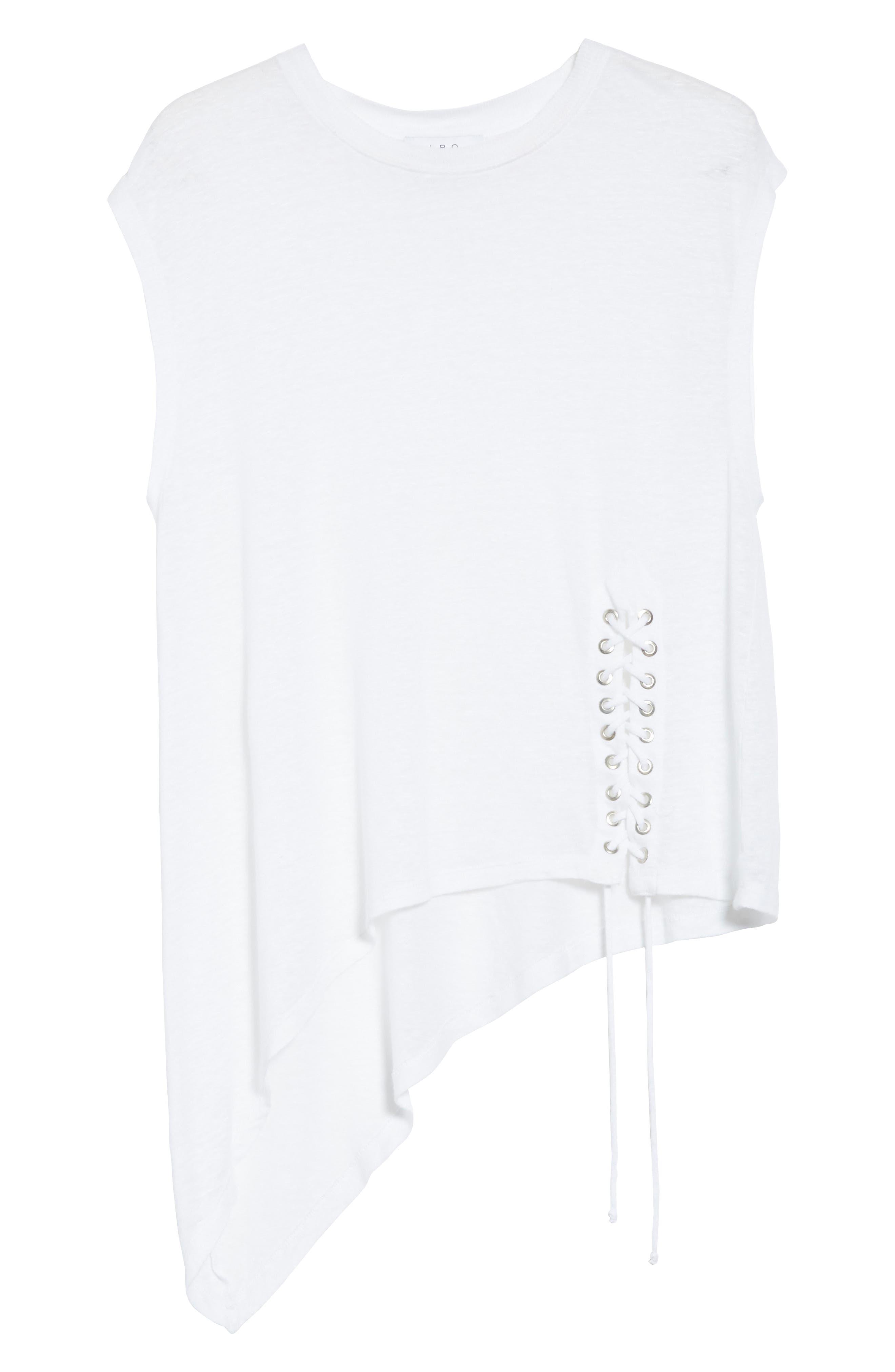 Karami Linen Asymmetrical Lace-Up Top,                             Alternate thumbnail 6, color,                             White