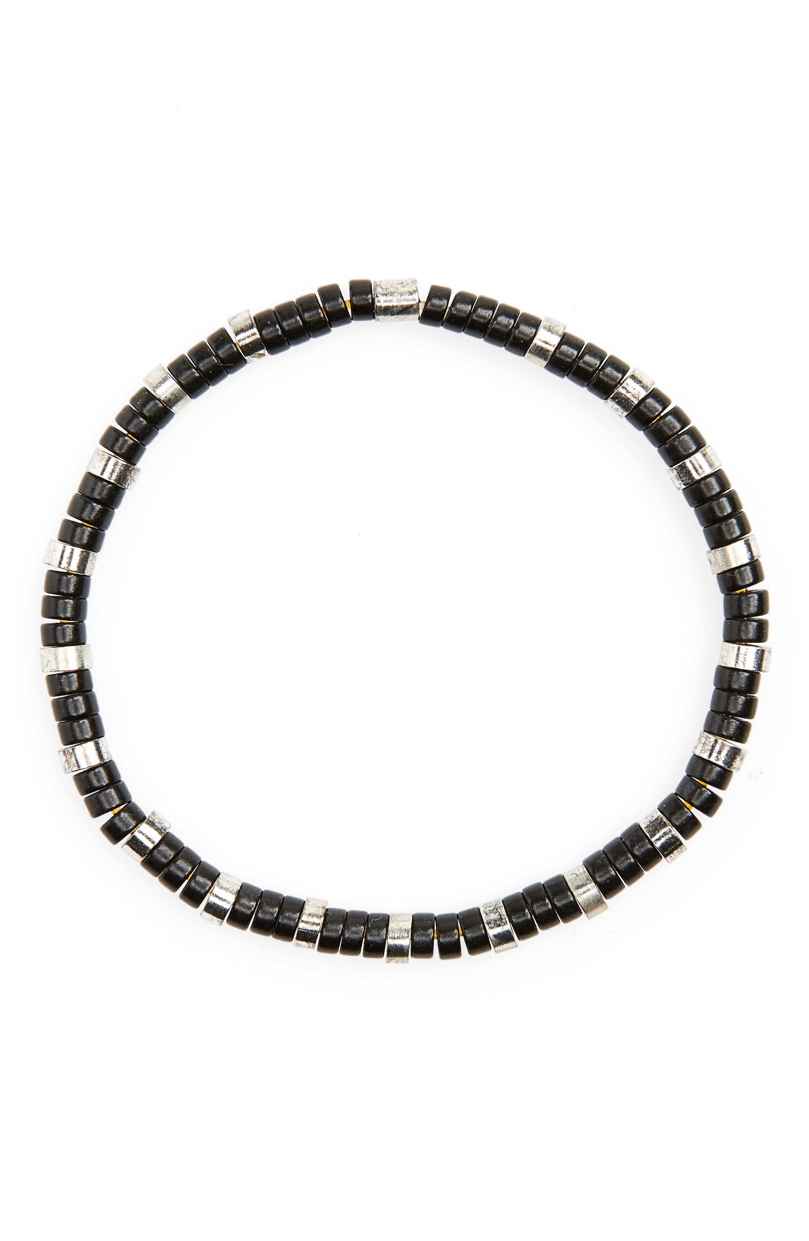 Disc Bead Bracelet,                         Main,                         color, Black