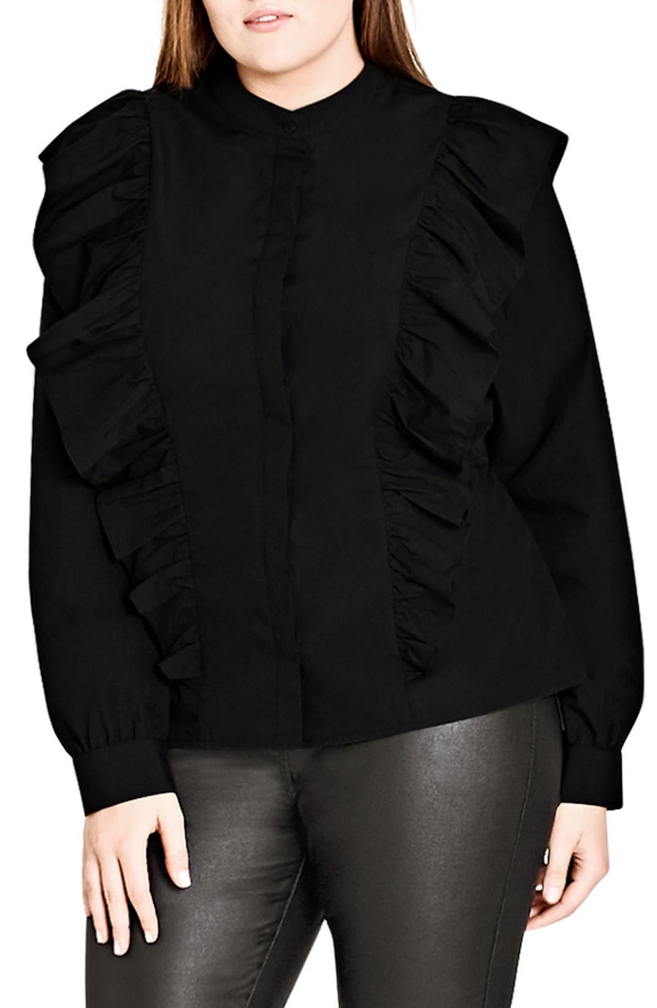 Ruffle Front Shirt,                         Main,                         color, Black