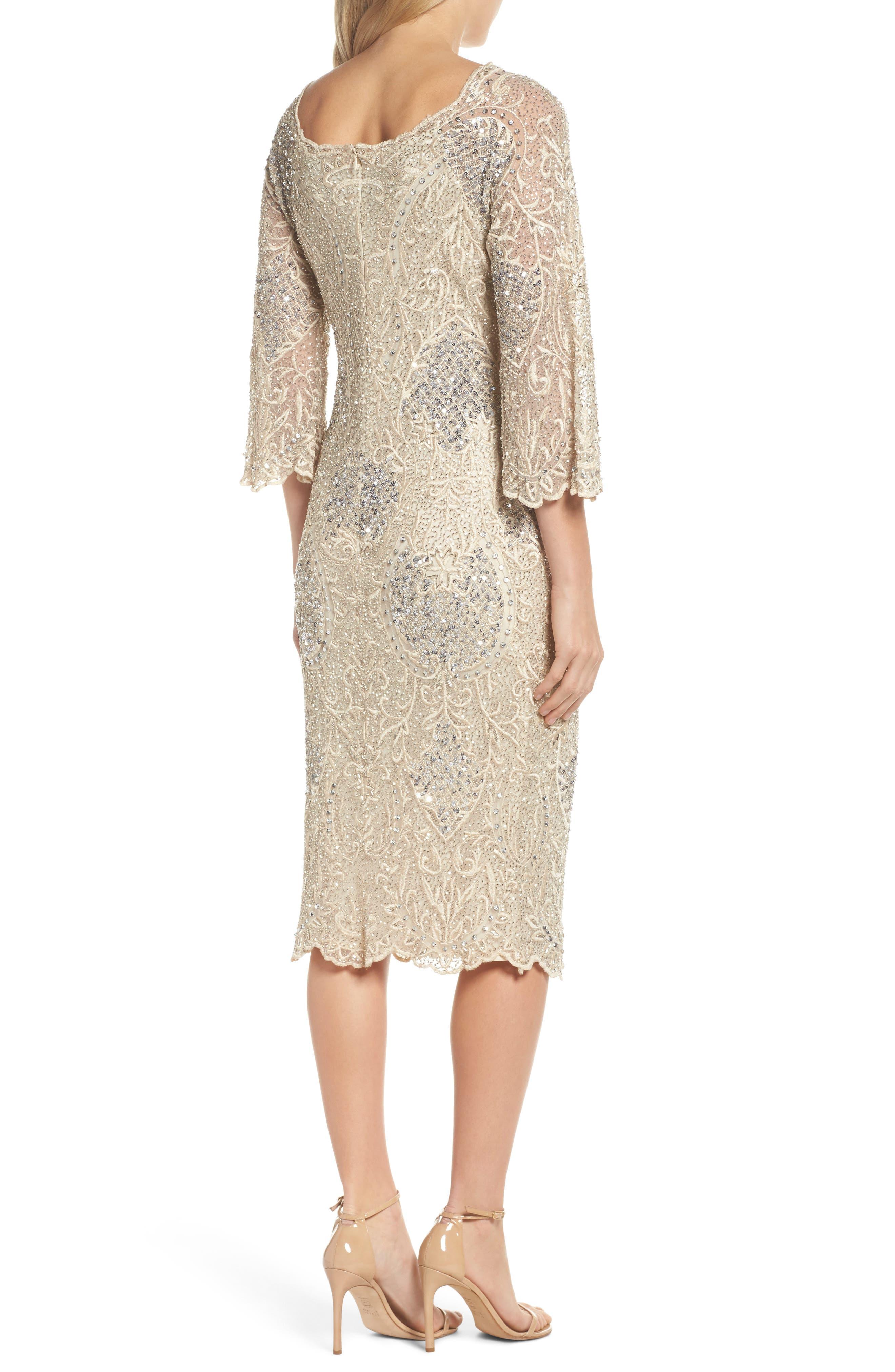Embroidered Scallop Edge Midi Sheath Dress,                             Alternate thumbnail 2, color,                             Champagne