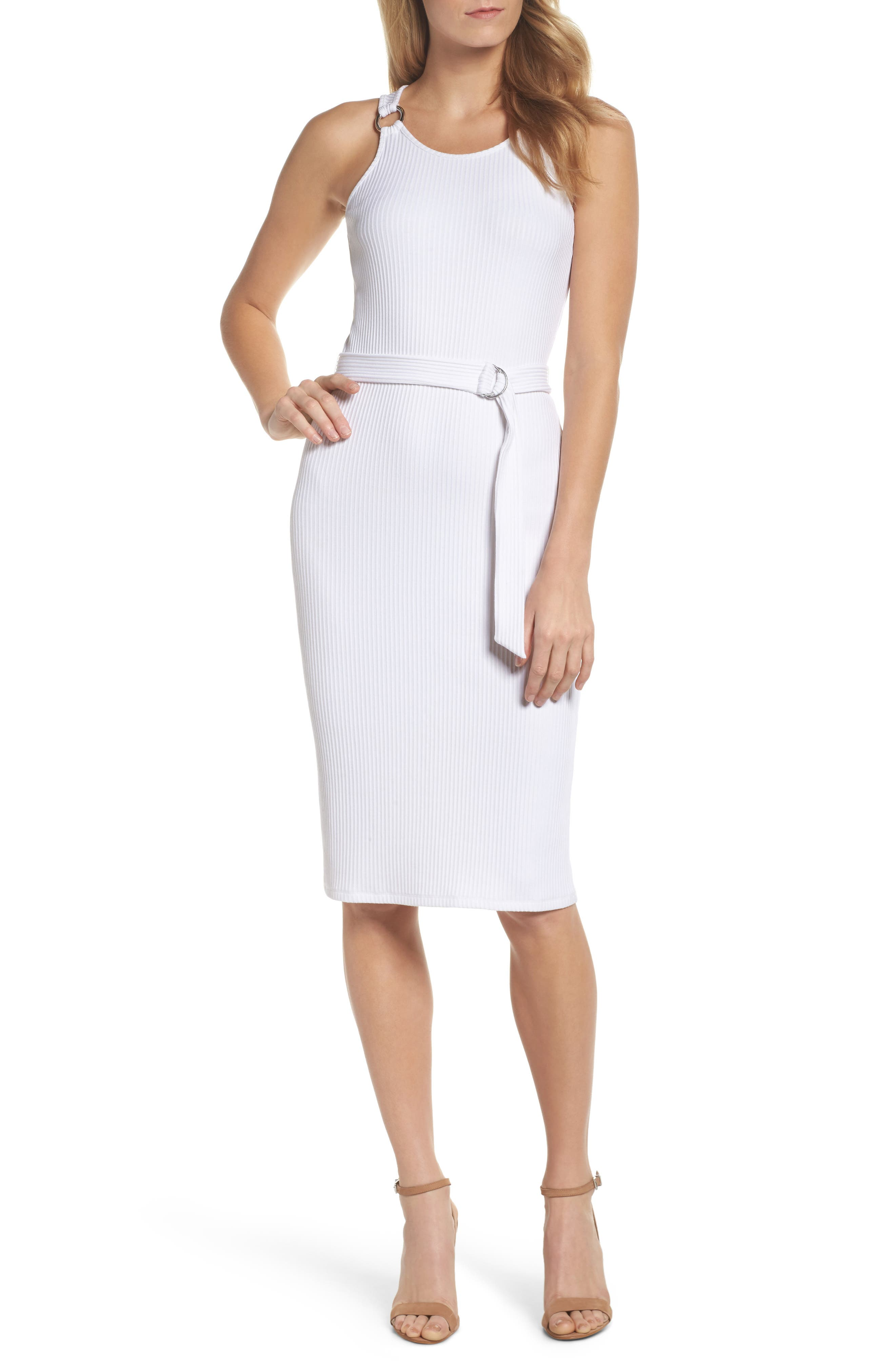 Belted Rib Knit Dress,                             Main thumbnail 1, color,                             White