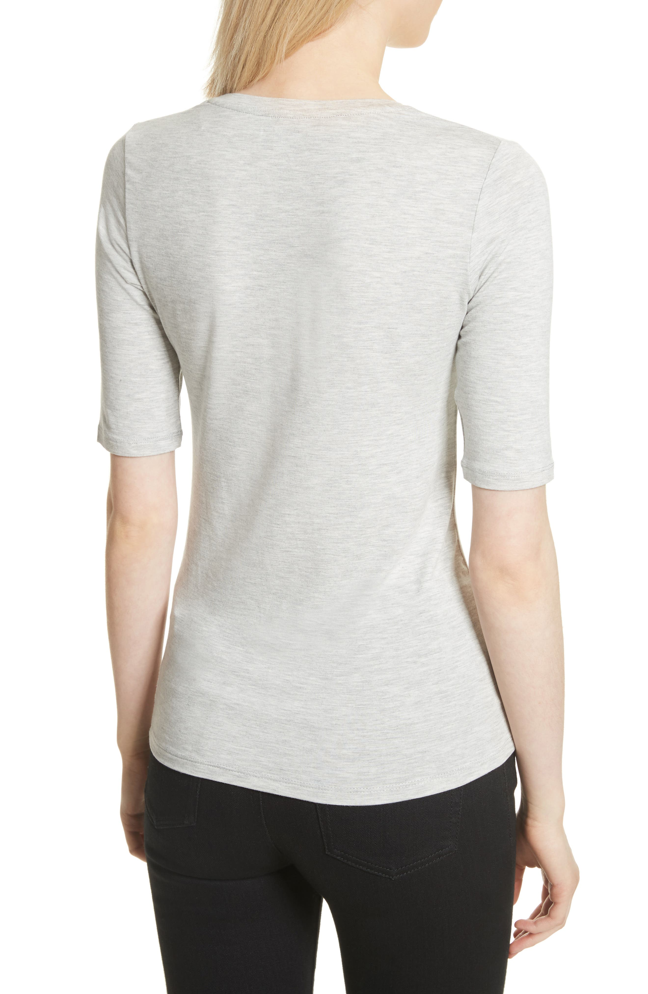 Soft Touch Elbow Sleeve Tee,                             Alternate thumbnail 2, color,                             Nacre Chine