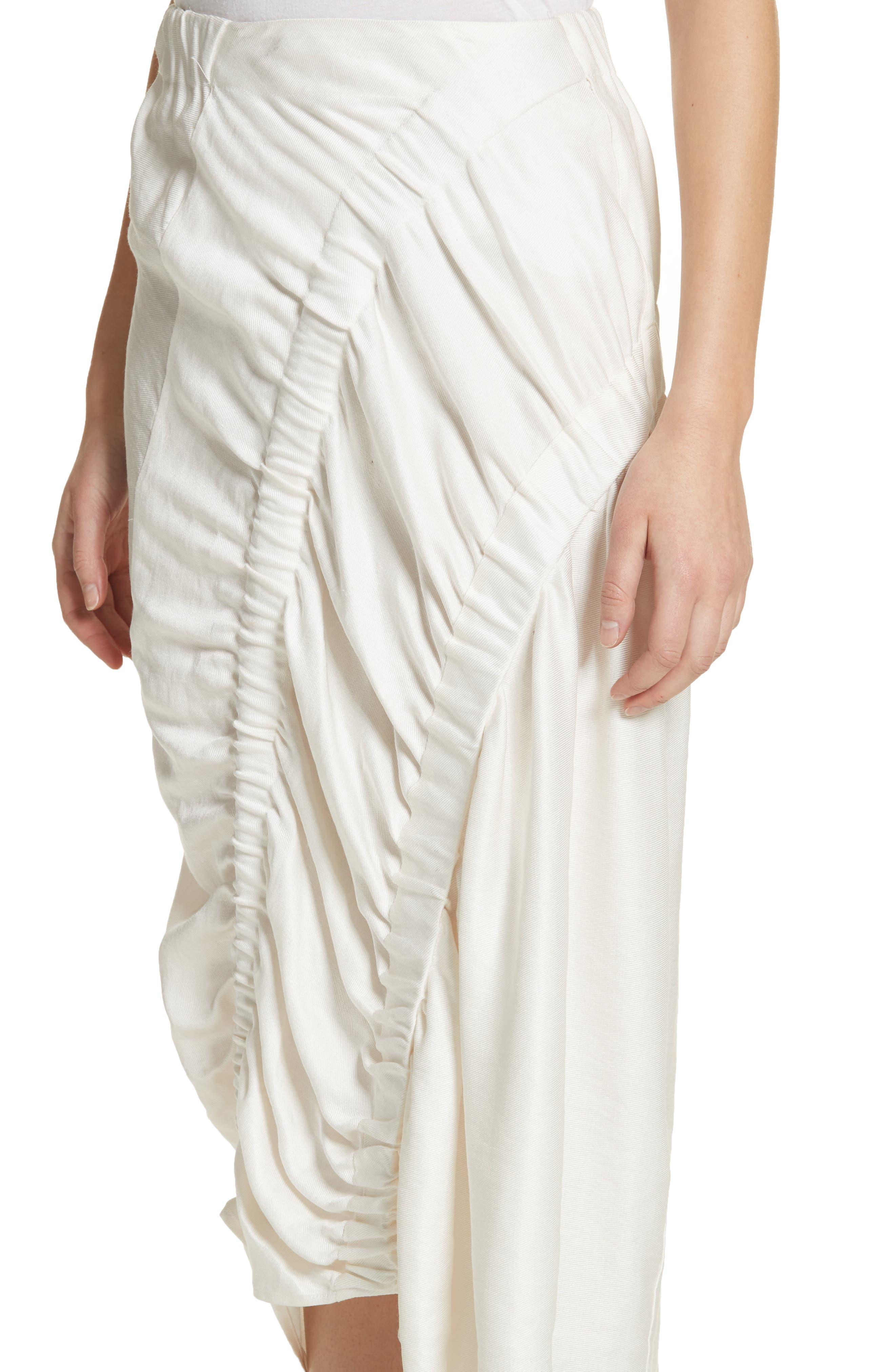 Ruched Drape Skirt,                             Alternate thumbnail 4, color,                             White Pepper