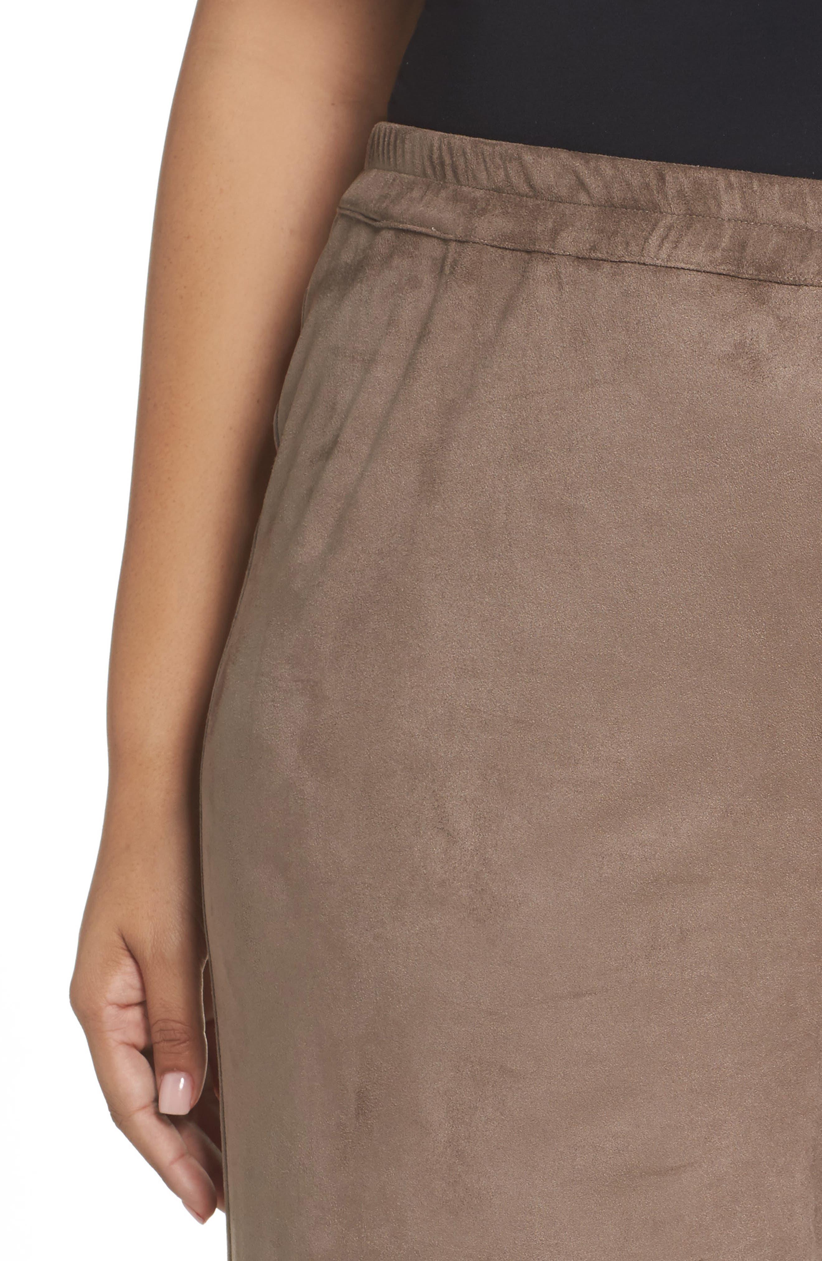 Rosa Faux Suede Knit Pants,                             Alternate thumbnail 4, color,                             Dark Beige