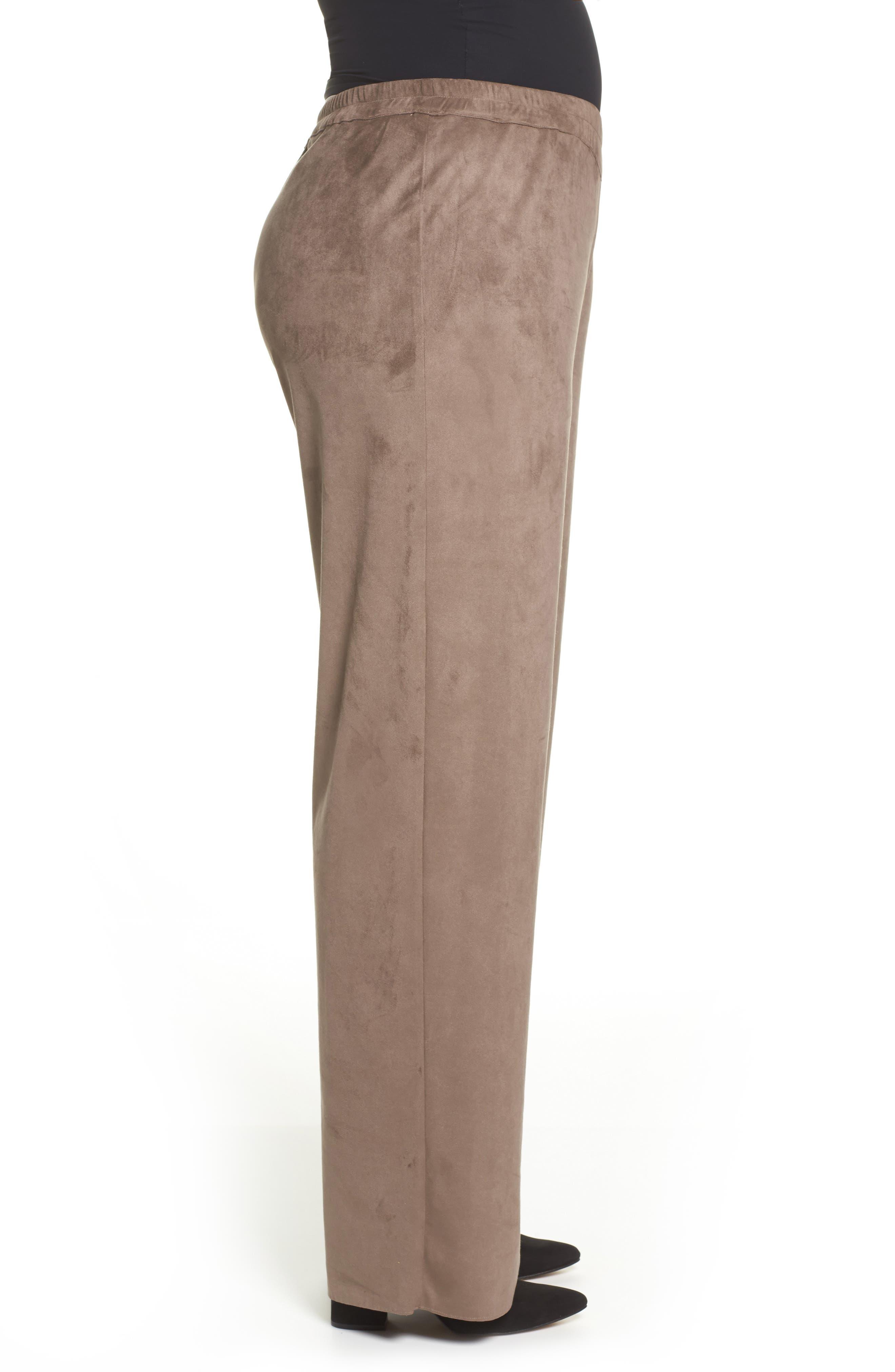 Rosa Faux Suede Knit Pants,                             Alternate thumbnail 3, color,                             Dark Beige
