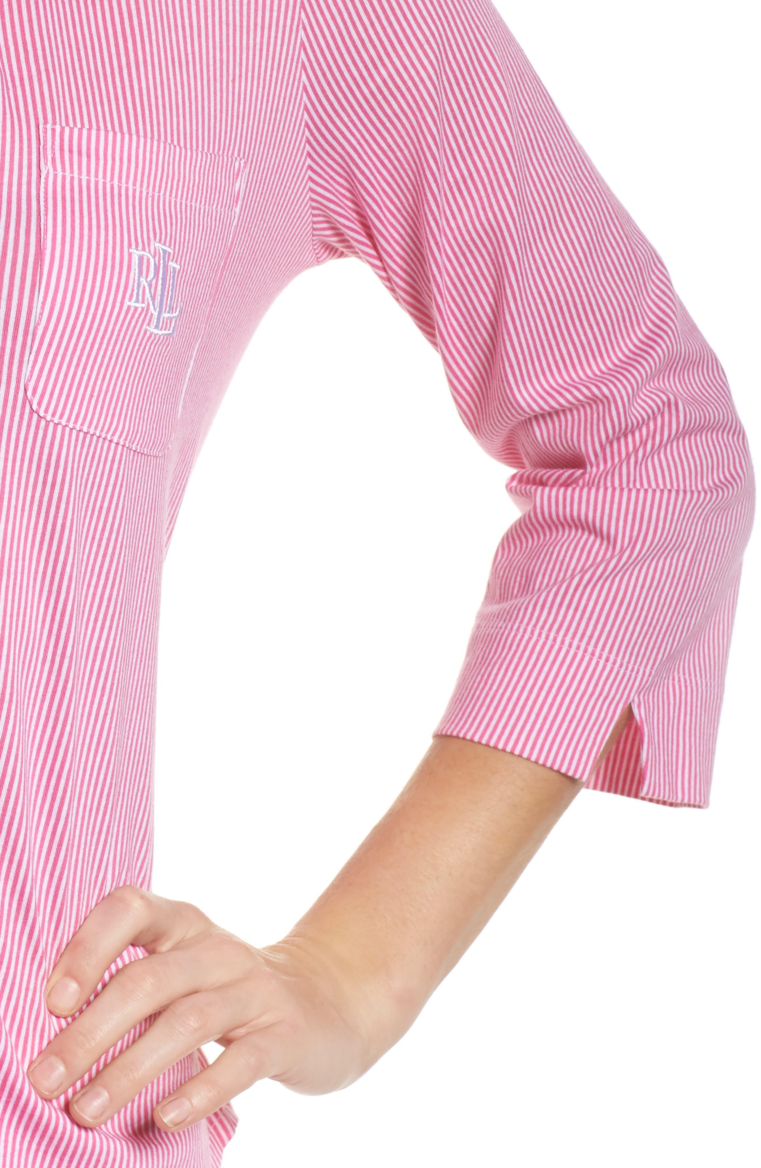 Crop Pajamas,                             Alternate thumbnail 5, color,                             Pink Stripe