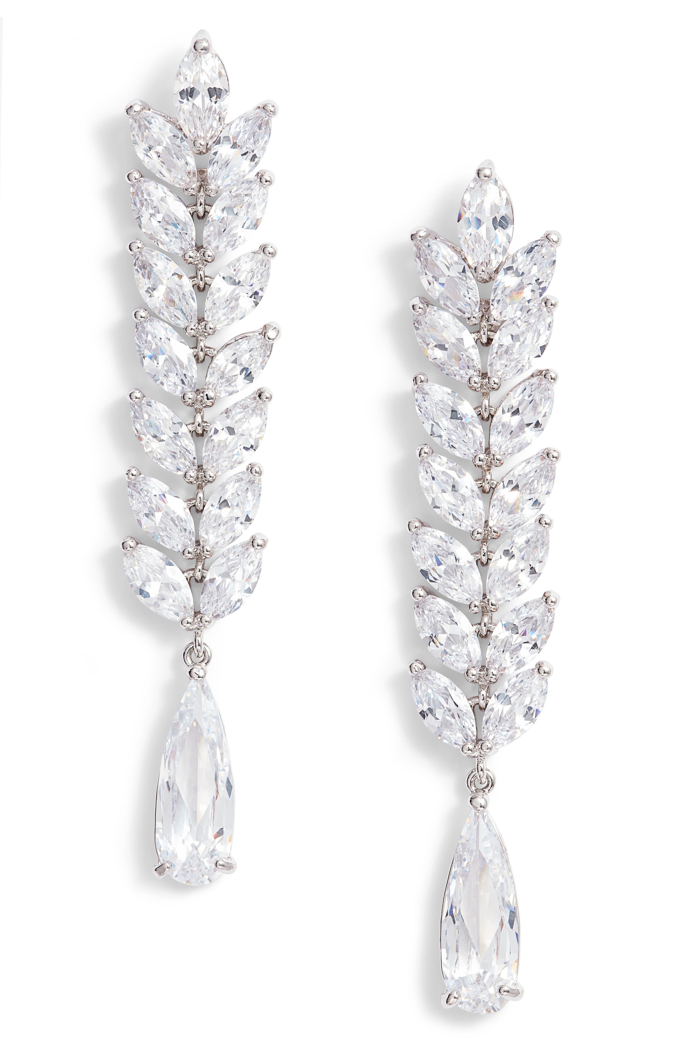 Cascading Long Drop Earrings,                         Main,                         color, Silver/ White Cz