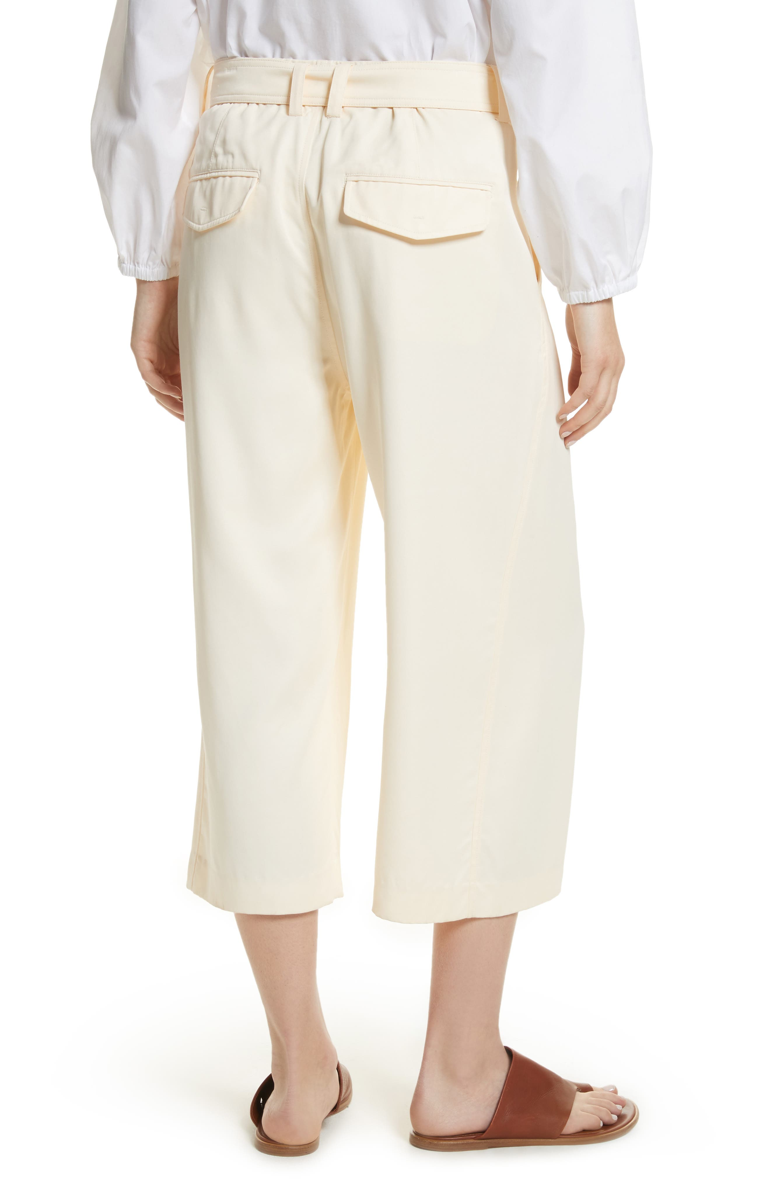 Belted Crossover Culottes,                             Alternate thumbnail 2, color,                             Buttercream